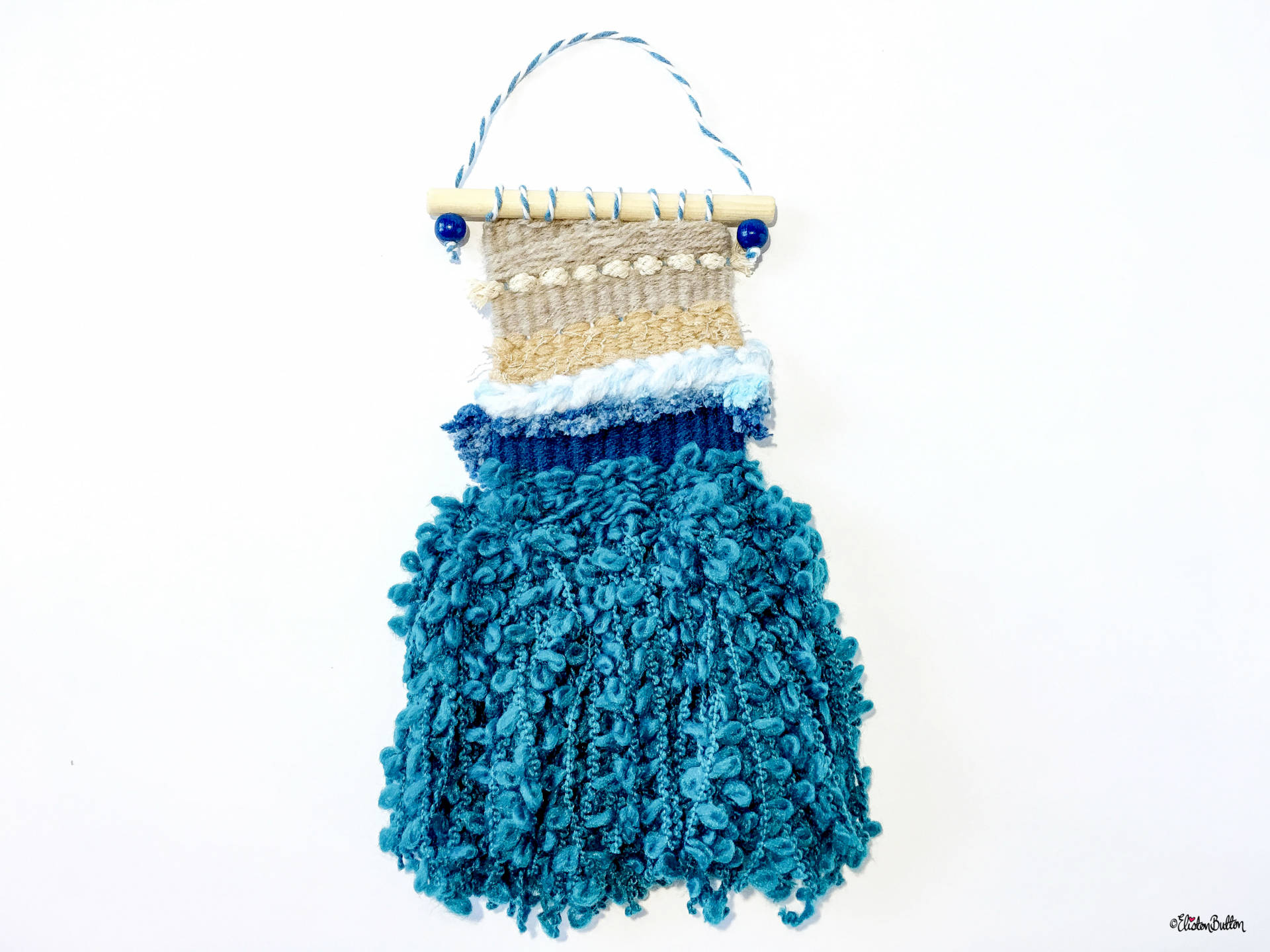 Beach Theme Mini Woven Wall Hanging with Teal Seaweed Tassels by Eliston Button On Etsy - Create 30 - No. 20, 21 & 22 - Mini Beach Woven Wall Hangings at www.elistonbutton.com - Eliston Button - That Crafty Kid – Art, Design, Craft & Adventure.