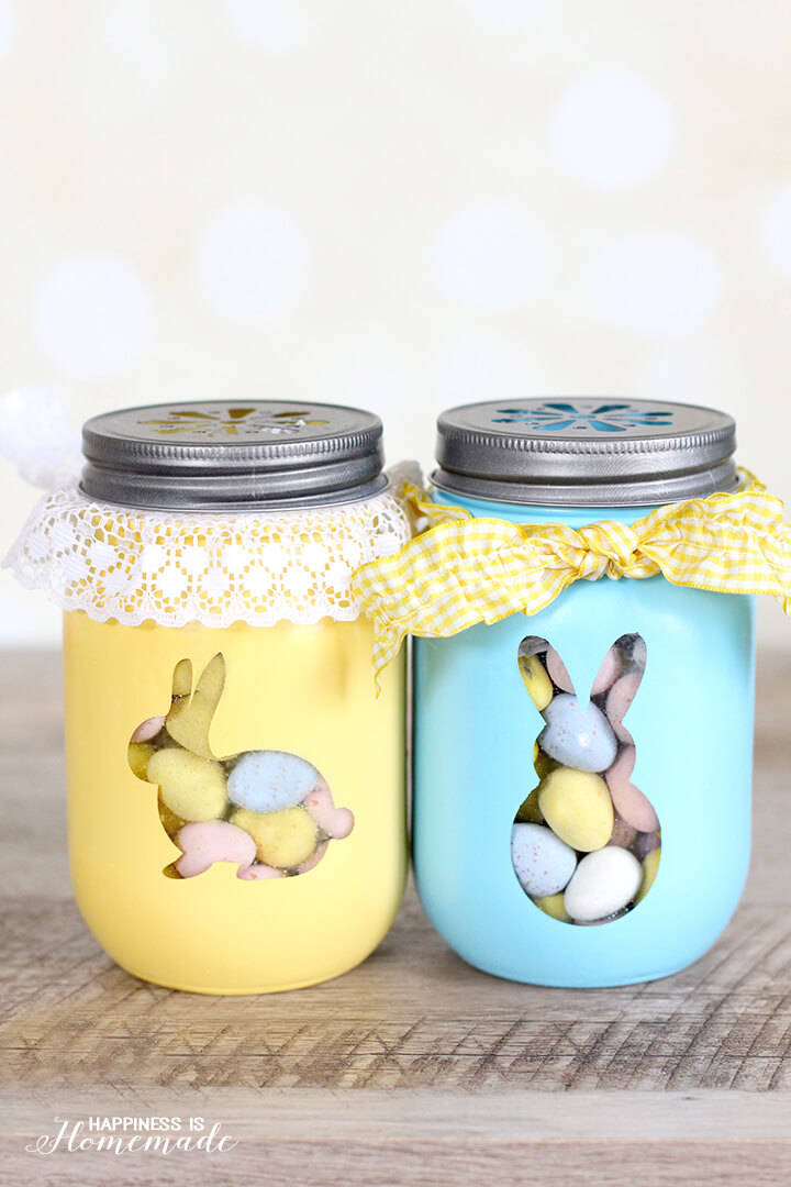Easter Bunny Treat Jars by Happiness is Homemade - For the Love of...Spring at www.elistonbutton.com - Eliston Button - That Crafty Kid – Art, Design, Craft & Adventure.