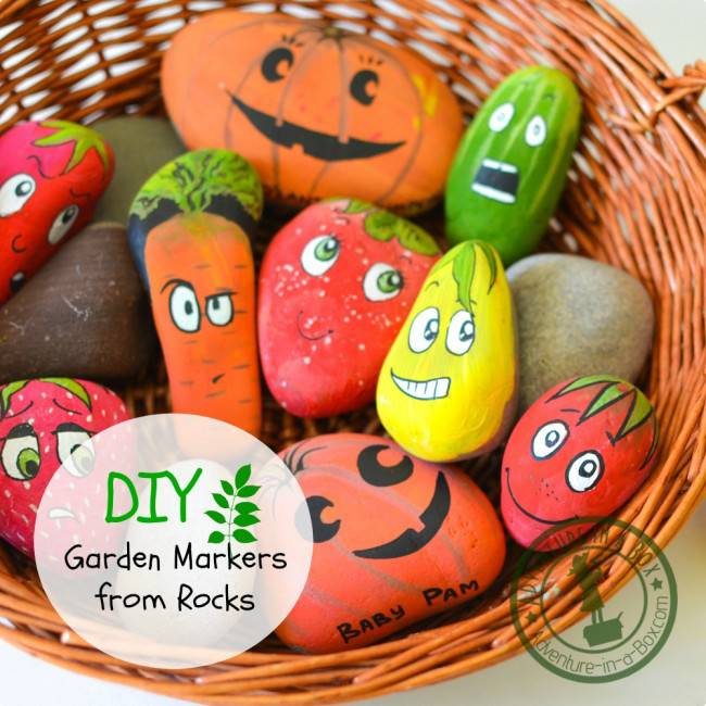 How to Make Garden Markers From Rocks by Adventure in a Box - For the Love of...Spring at www.elistonbutton.com - Eliston Button - That Crafty Kid – Art, Design, Craft & Adventure.