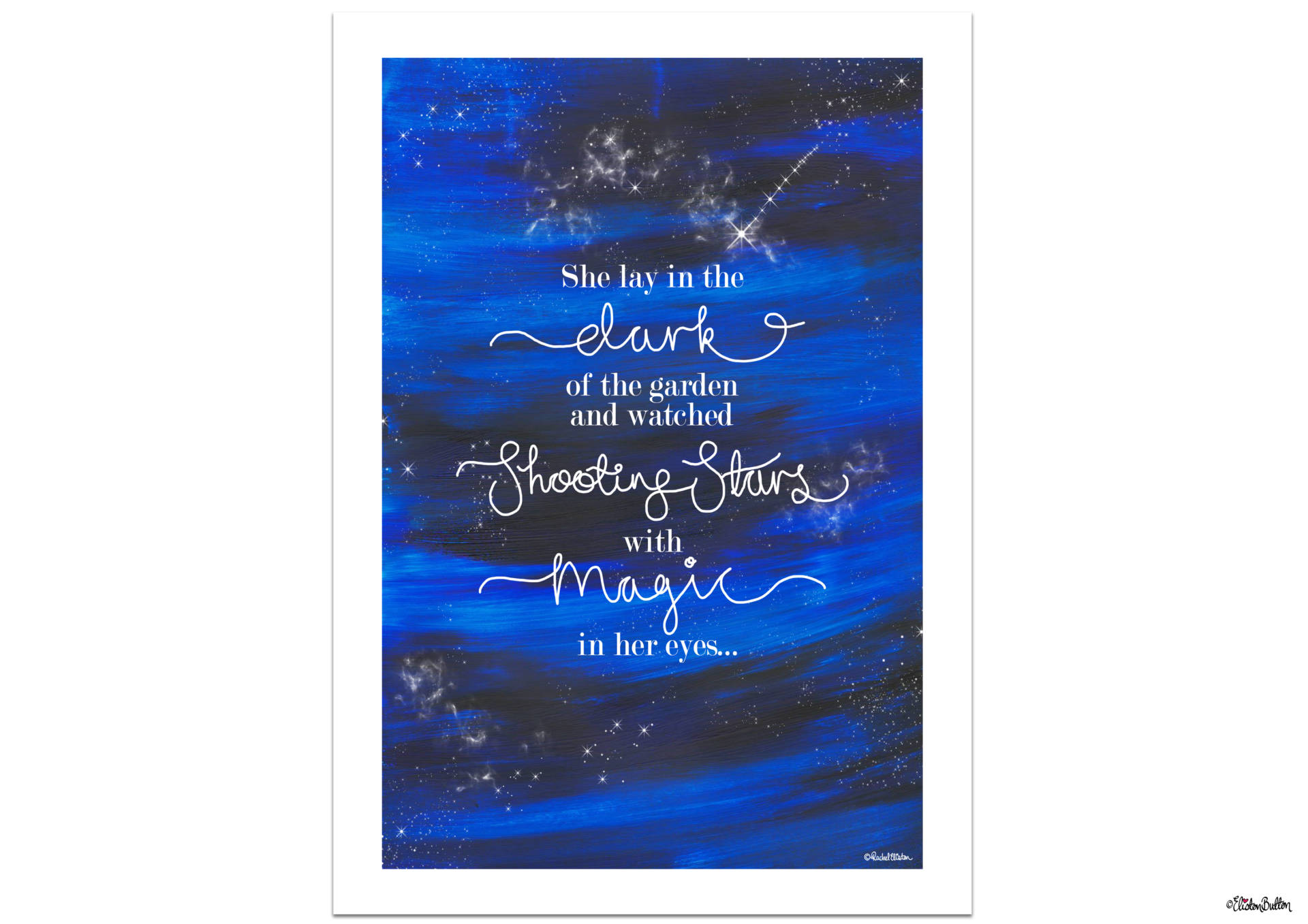 Shooting Star Magic Quote Print with Painted Night Sky Background and Hand Lettering by Eliston Button - Create 30 - No. 23 - Shooting Star Quote Print at www.elistonbutton.com - Eliston Button - That Crafty Kid – Art, Design, Craft & Adventure.