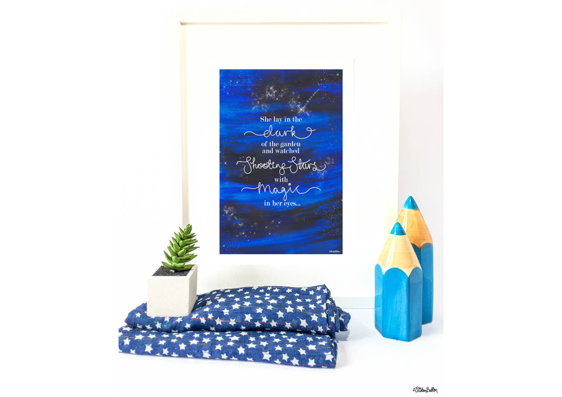 Shooting Stars Quote Print in Frame with Painted Background and Hand Lettering by Eliston Button. - Create 30 - No. 23 - Shooting Star Quote Print at www.elistonbutton.com - Eliston Button - That Crafty Kid – Art, Design, Craft & Adventure.
