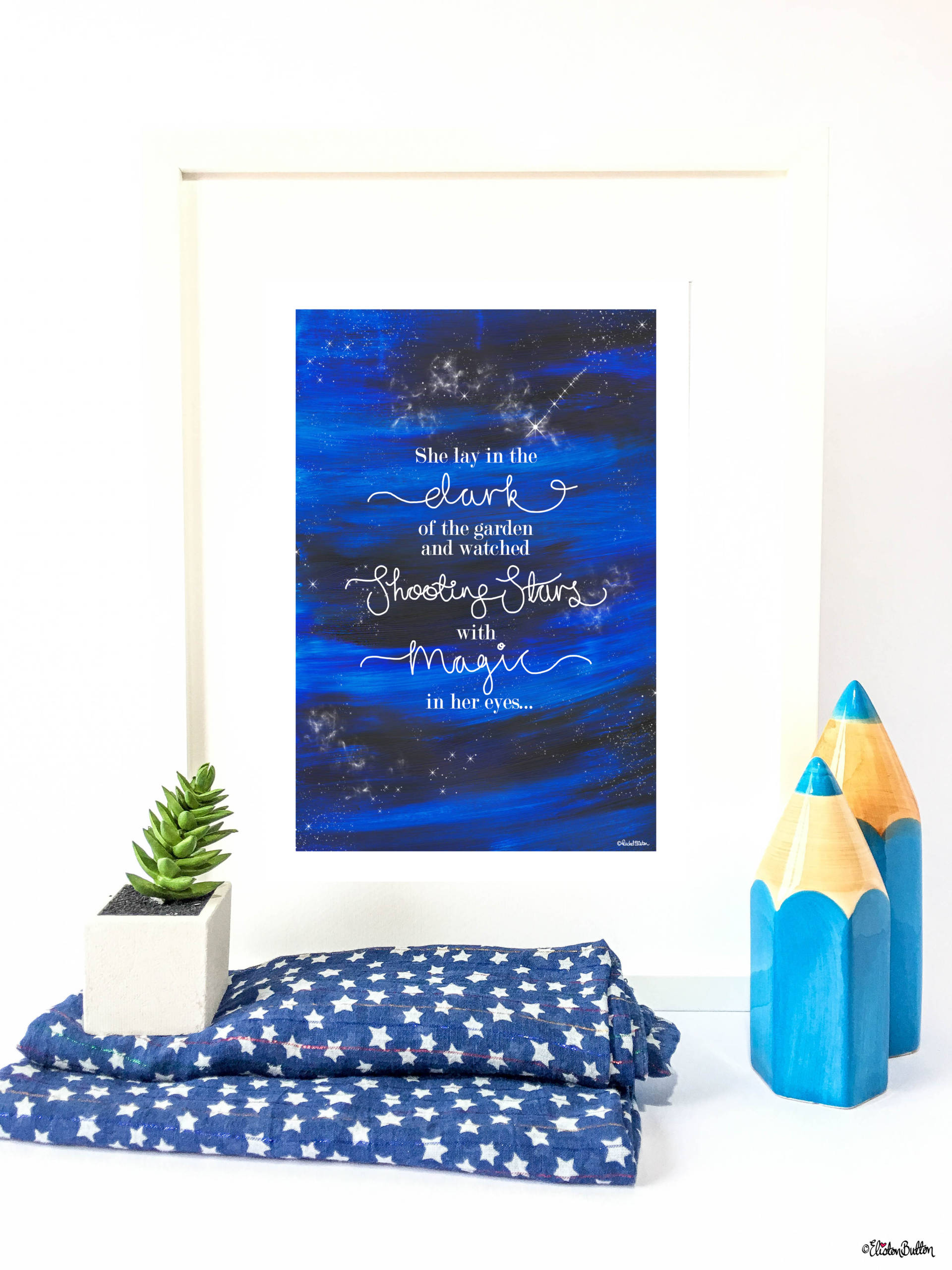 Shooting Stars Quote Print in Frame with Painted Background and Hand Lettering by Eliston Button - Create 30 - No. 23 - Shooting Star Quote Print at www.elistonbutton.com - Eliston Button - That Crafty Kid – Art, Design, Craft & Adventure.
