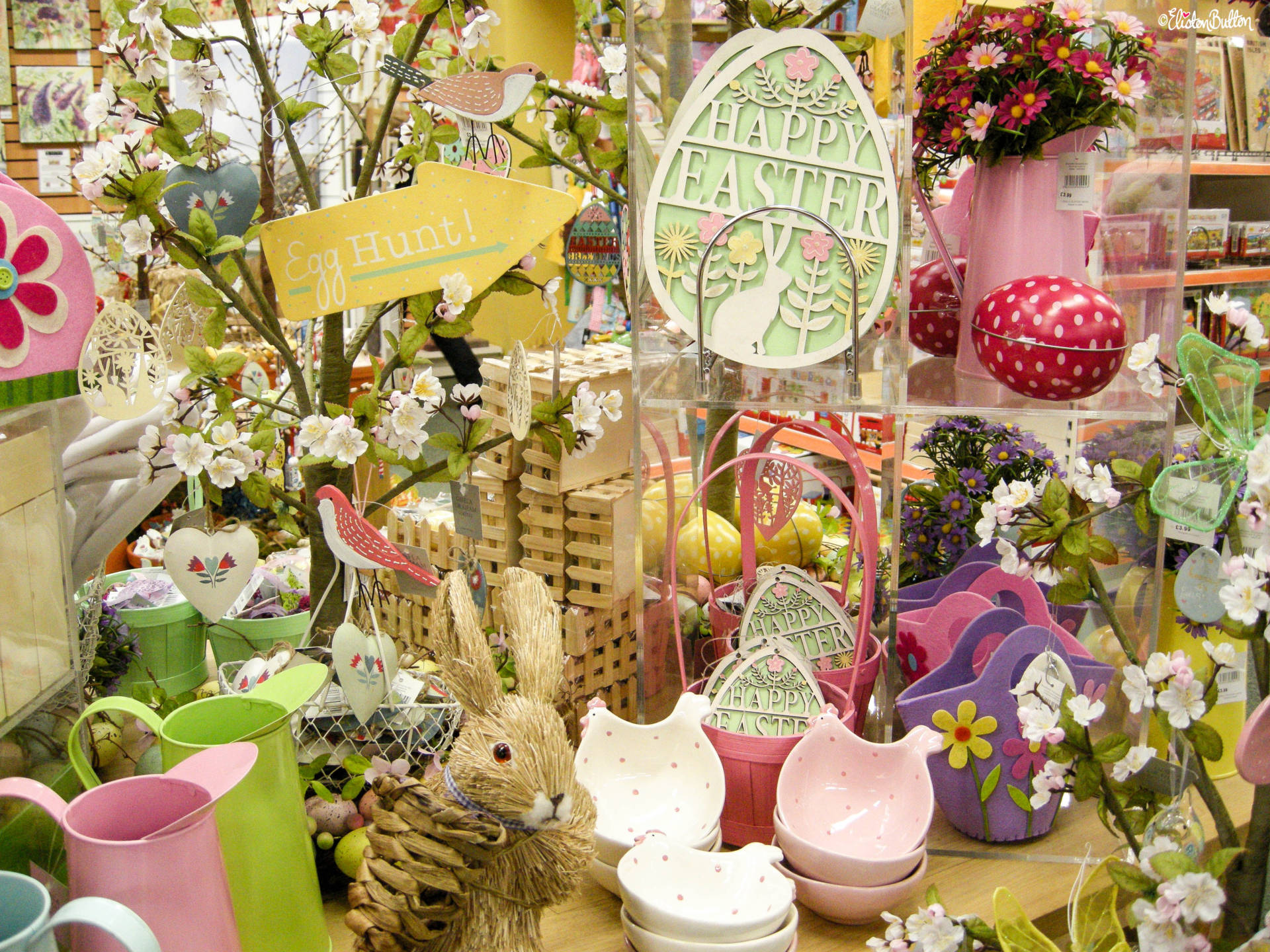 Springtime and Easter Display, Easter Egg Hunt, Pastel Colours and Pretty Florals - For the Love of...Spring at www.elistonbutton.com - Eliston Button - That Crafty Kid – Art, Design, Craft & Adventure.