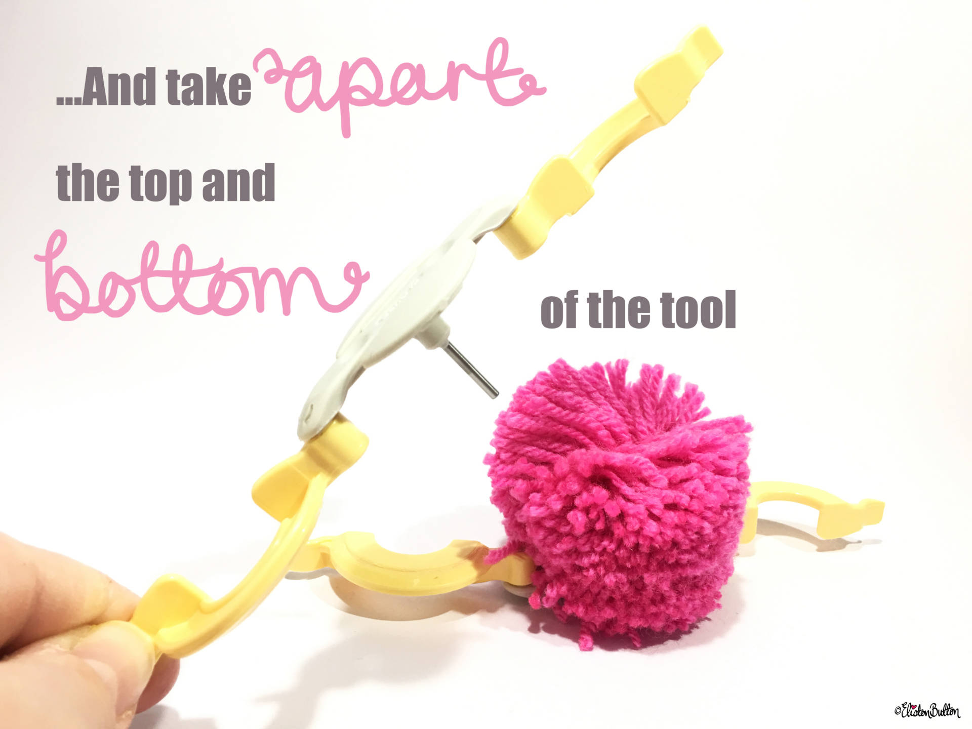12a. ...And Take Apart the Top and Bottom of the Tool - Tutorial Tuesday - Clover Pom Pom Maker at www.elistonbutton.com - Eliston Button - That Crafty Kid – Art, Design, Craft & Adventure.