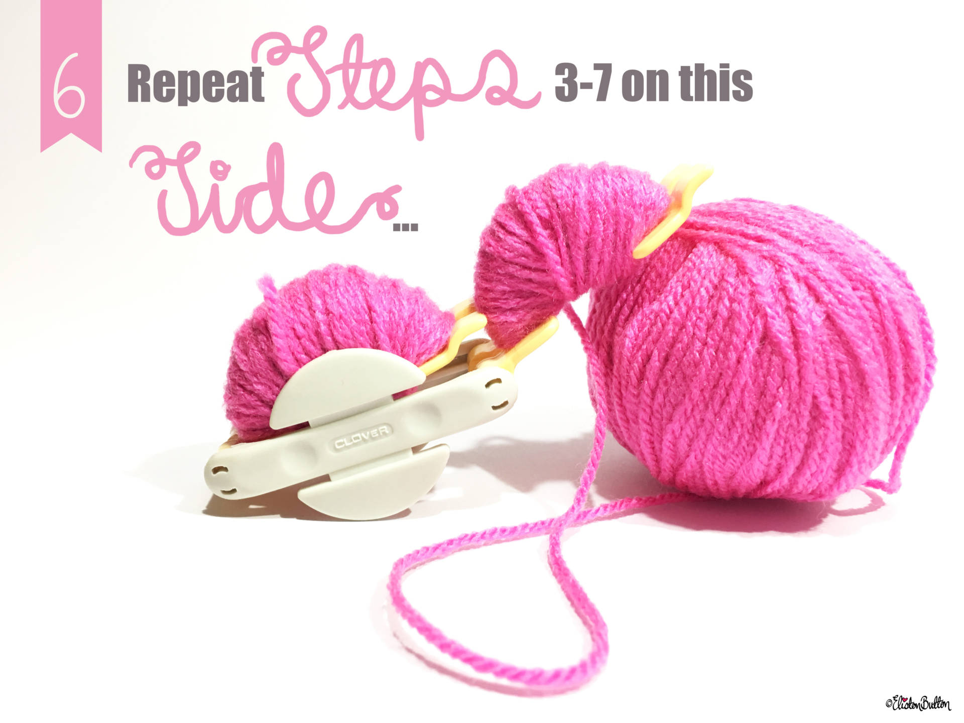6. Repeat Steps 3-7 on This Side... - Tutorial Tuesday - Clover Pom Pom Maker at www.elistonbutton.com - Eliston Button - That Crafty Kid – Art, Design, Craft & Adventure.