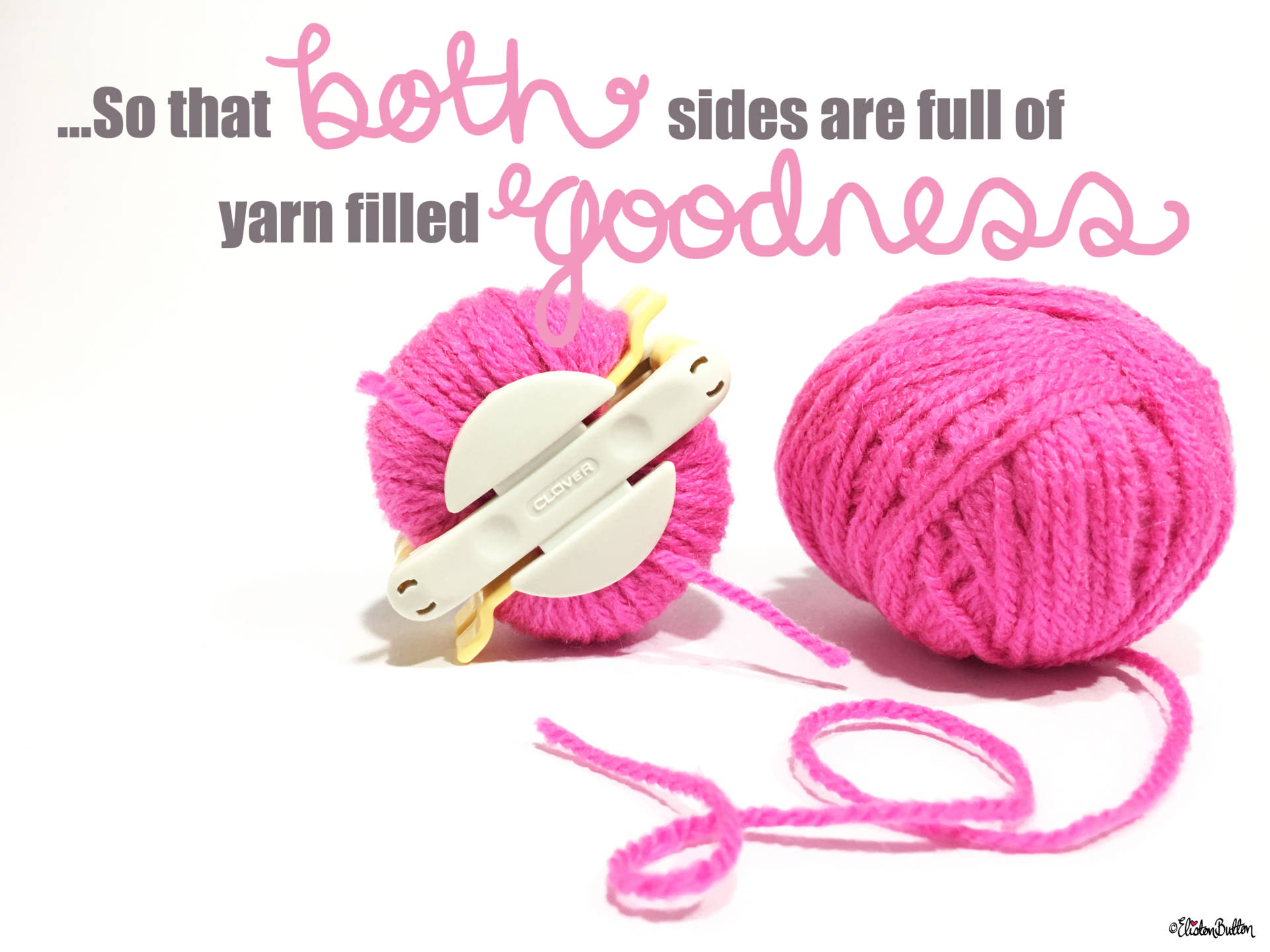 6a. ...So that Both Sides are Full of Yarny Goodness! - Tutorial Tuesday - Clover Pom Pom Maker at www.elistonbutton.com - Eliston Button - That Crafty Kid – Art, Design, Craft & Adventure.