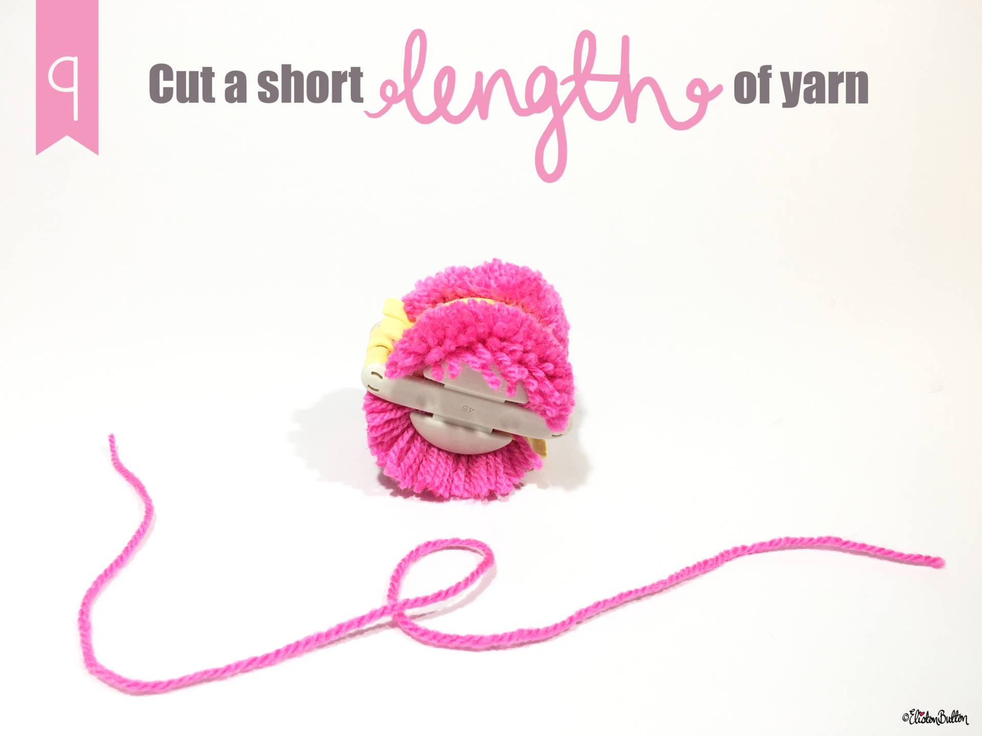 9. Cut a Short Length of Yarn - Tutorial Tuesday - Clover Pom Pom Maker at www.elistonbutton.com - Eliston Button - That Crafty Kid – Art, Design, Craft & Adventure.
