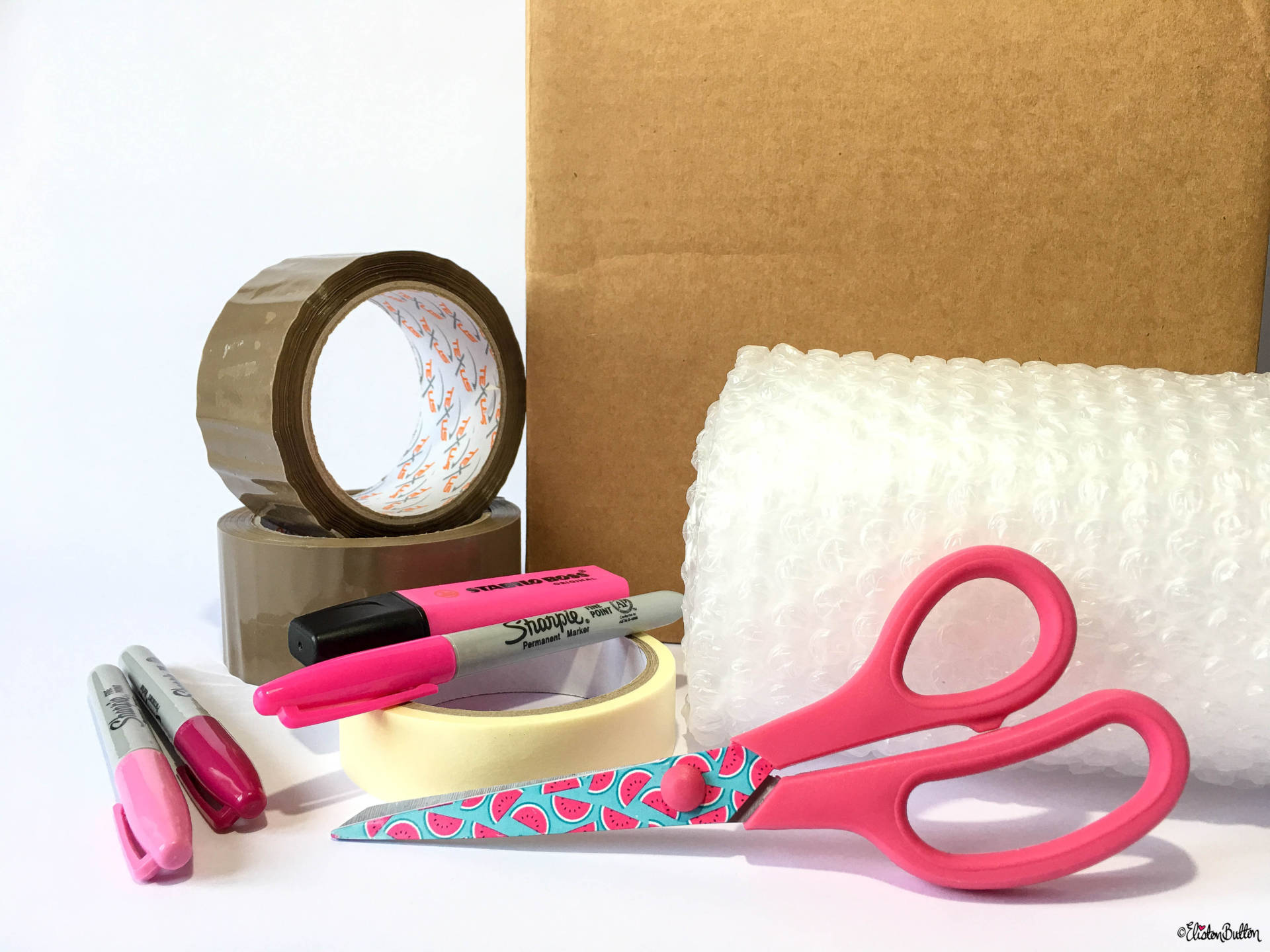 Moving House Essentials - Strong Boxes, Packing Tape, Bubble Wrap, Marker Pens, Scissors and Masking Tape - 10 Top Tips for...Moving House at www.elistonbutton.com - Eliston Button - That Crafty Kid – Art, Design, Craft & Adventure.