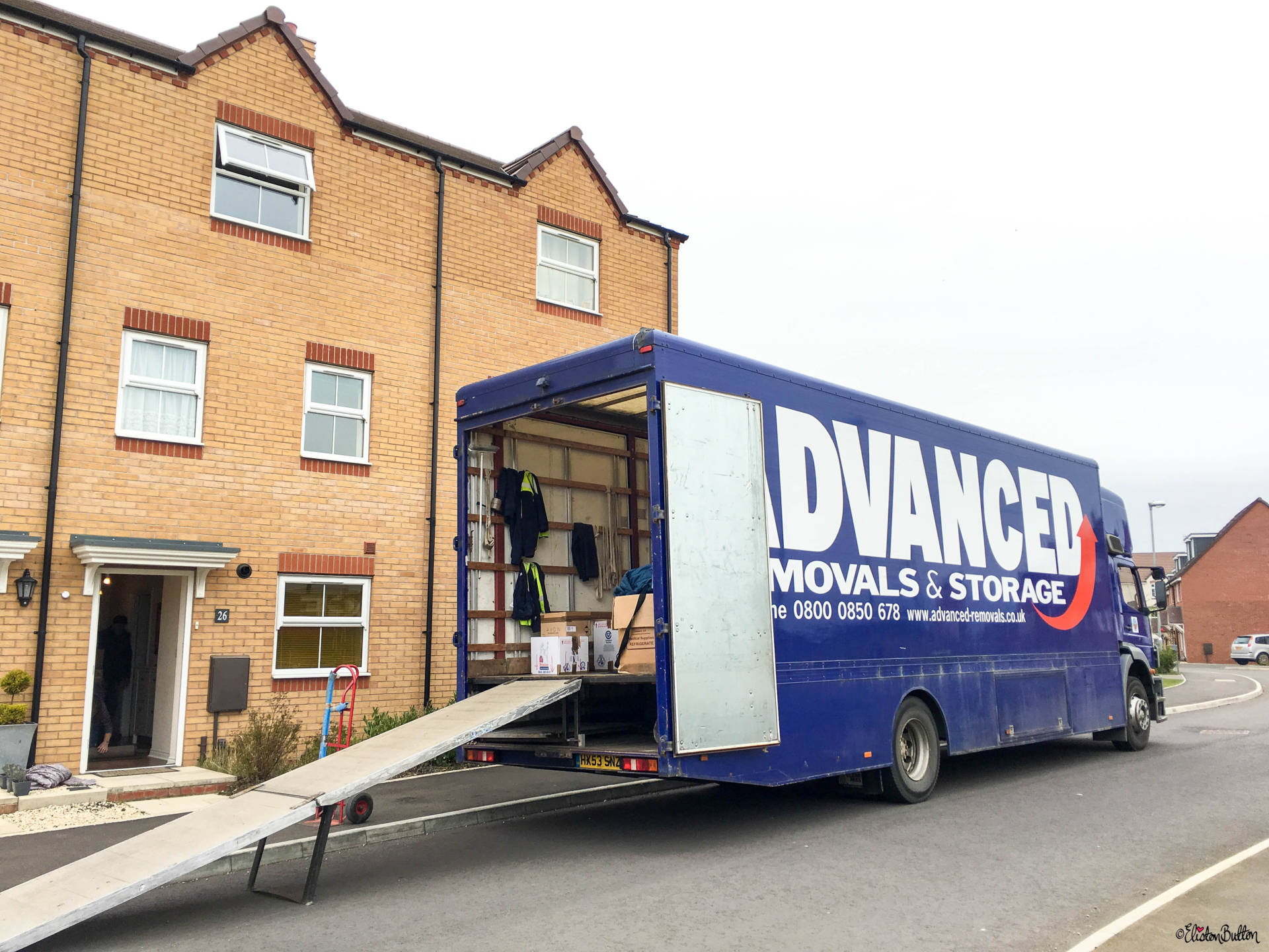 Removal Lorry Starting to be Filled Ready for the Move - 10 Top Tips for...Moving House at www.elistonbutton.com - Eliston Button - That Crafty Kid – Art, Design, Craft & Adventure.