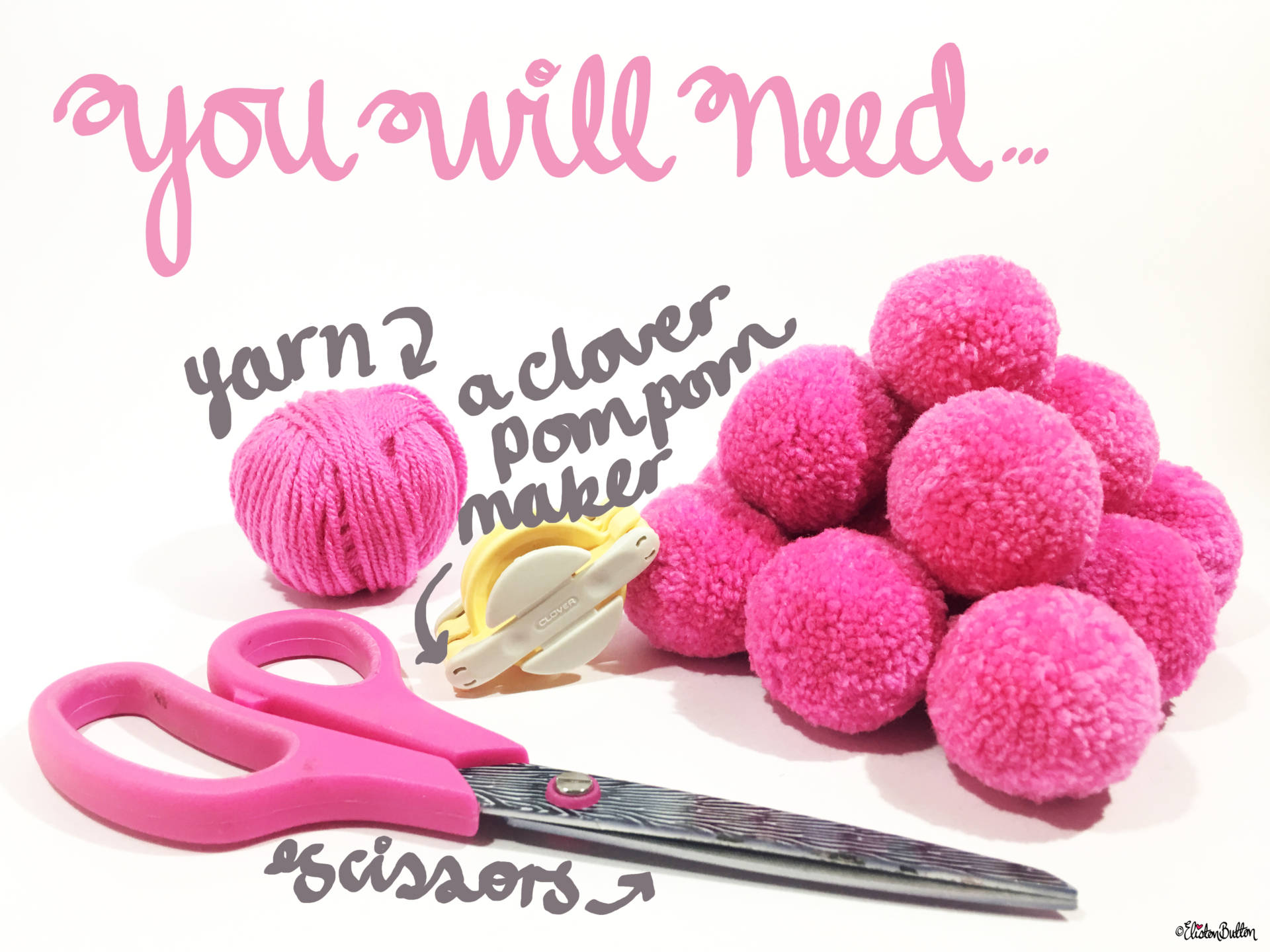 You Will Need...Materials List for a Clover Pom Pom Maker Tutorial by Eliston Button - Tutorial Tuesday - Clover Pom Pom Maker at www.elistonbutton.com - Eliston Button - That Crafty Kid – Art, Design, Craft & Adventure.