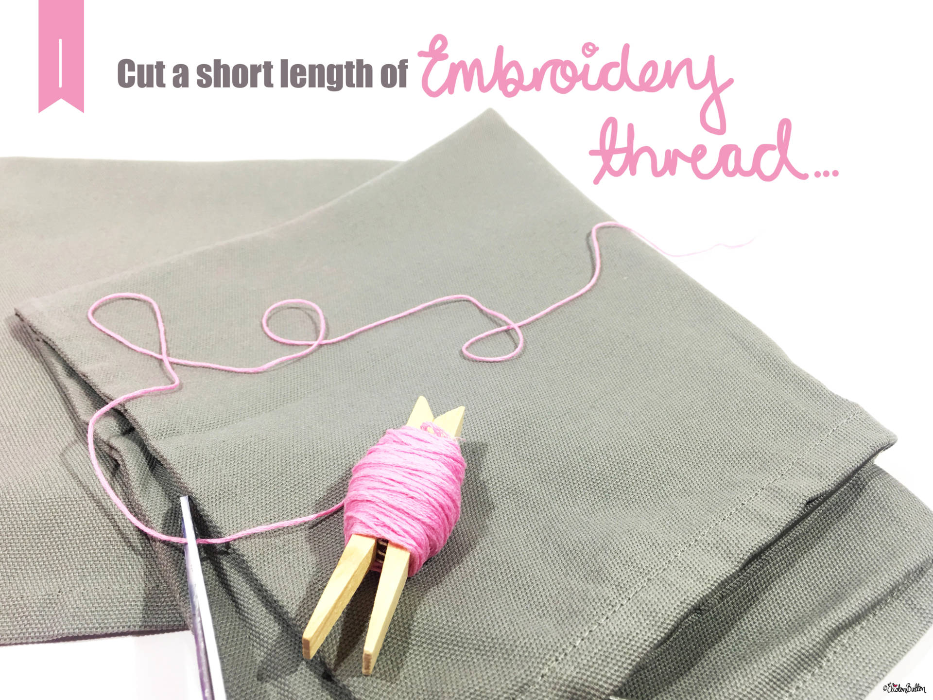 03. Cut a Length of Embroidery Thread - Tutorial Tuesday – Pom Pom Cushion Cover at www.elistonbutton.com - Eliston Button - That Crafty Kid – Art, Design, Craft & Adventure.