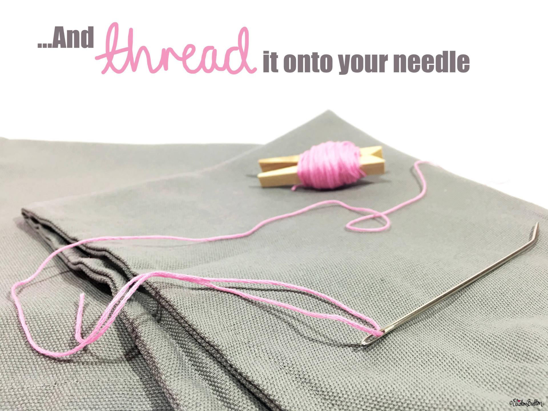 04. And Thread it on to your Needle - Tutorial Tuesday – Pom Pom Cushion Cover at www.elistonbutton.com - Eliston Button - That Crafty Kid – Art, Design, Craft & Adventure.