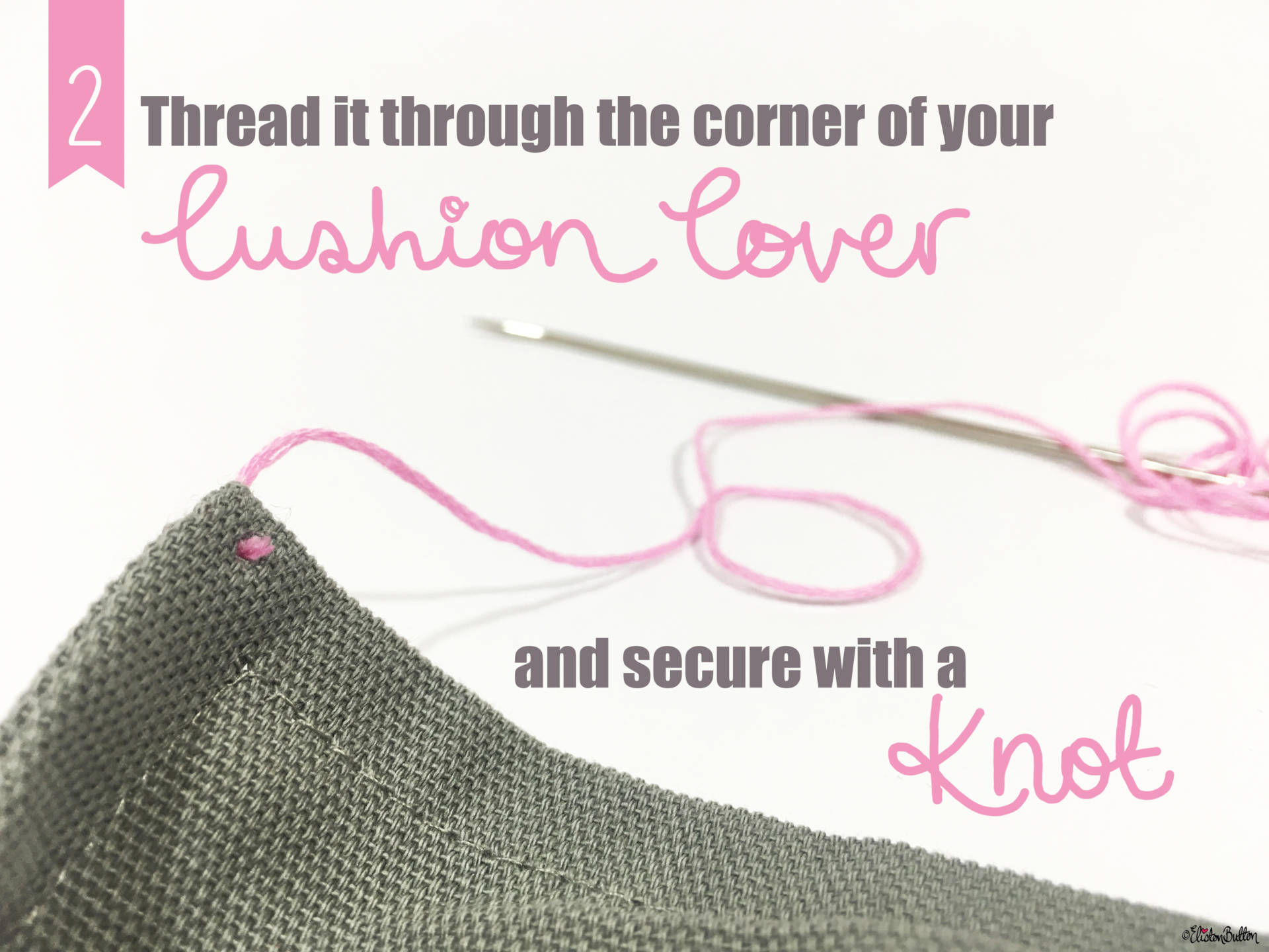 05. Thread it through the Corner of your Cushion Cover and Secure with a Knot - Tutorial Tuesday – Pom Pom Cushion Cover at www.elistonbutton.com - Eliston Button - That Crafty Kid – Art, Design, Craft & Adventure.