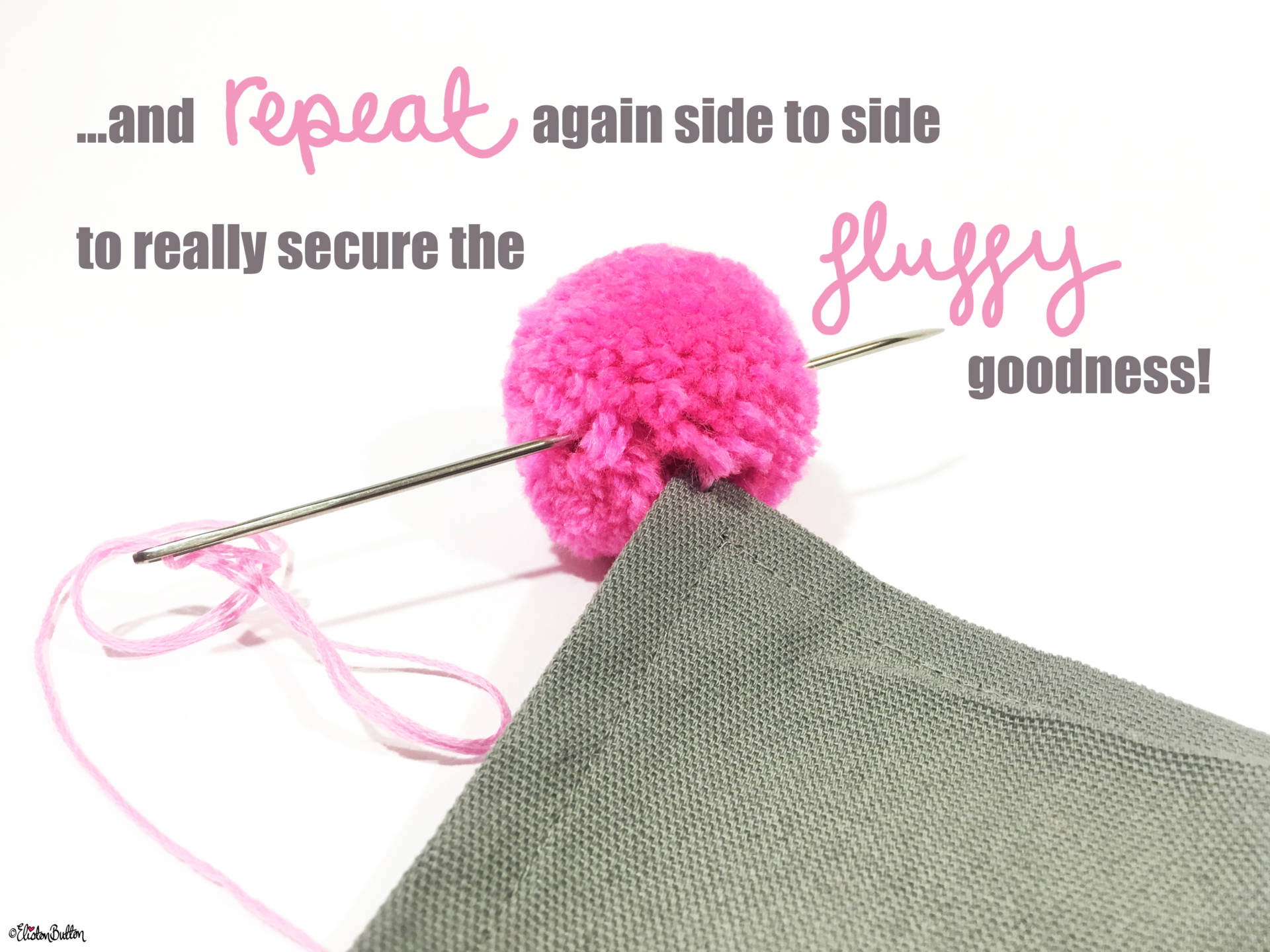09. ...And Repeat Again Sideways to Really Secure that Fluffy Goodness! - Tutorial Tuesday – Pom Pom Cushion Cover at www.elistonbutton.com - Eliston Button - That Crafty Kid – Art, Design, Craft & Adventure.