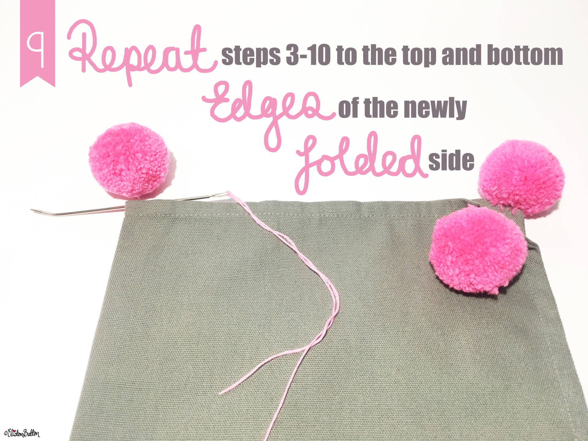 15. Repeat Steps 3-10 on to the Top and Bottom Edges of the Folded Side - Tutorial Tuesday – Pom Pom Cushion Cover at www.elistonbutton.com - Eliston Button - That Crafty Kid – Art, Design, Craft & Adventure.