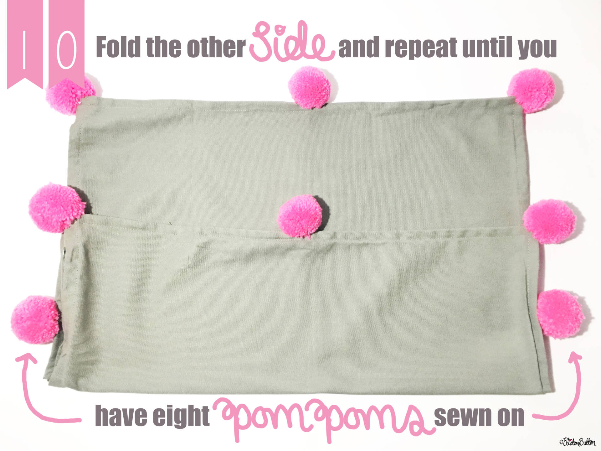 16. Fold the Other Way and Repeat Until you have Eight Pom Poms Around your Cushion Cover - Tutorial Tuesday – Pom Pom Cushion Cover at www.elistonbutton.com - Eliston Button - That Crafty Kid – Art, Design, Craft & Adventure.