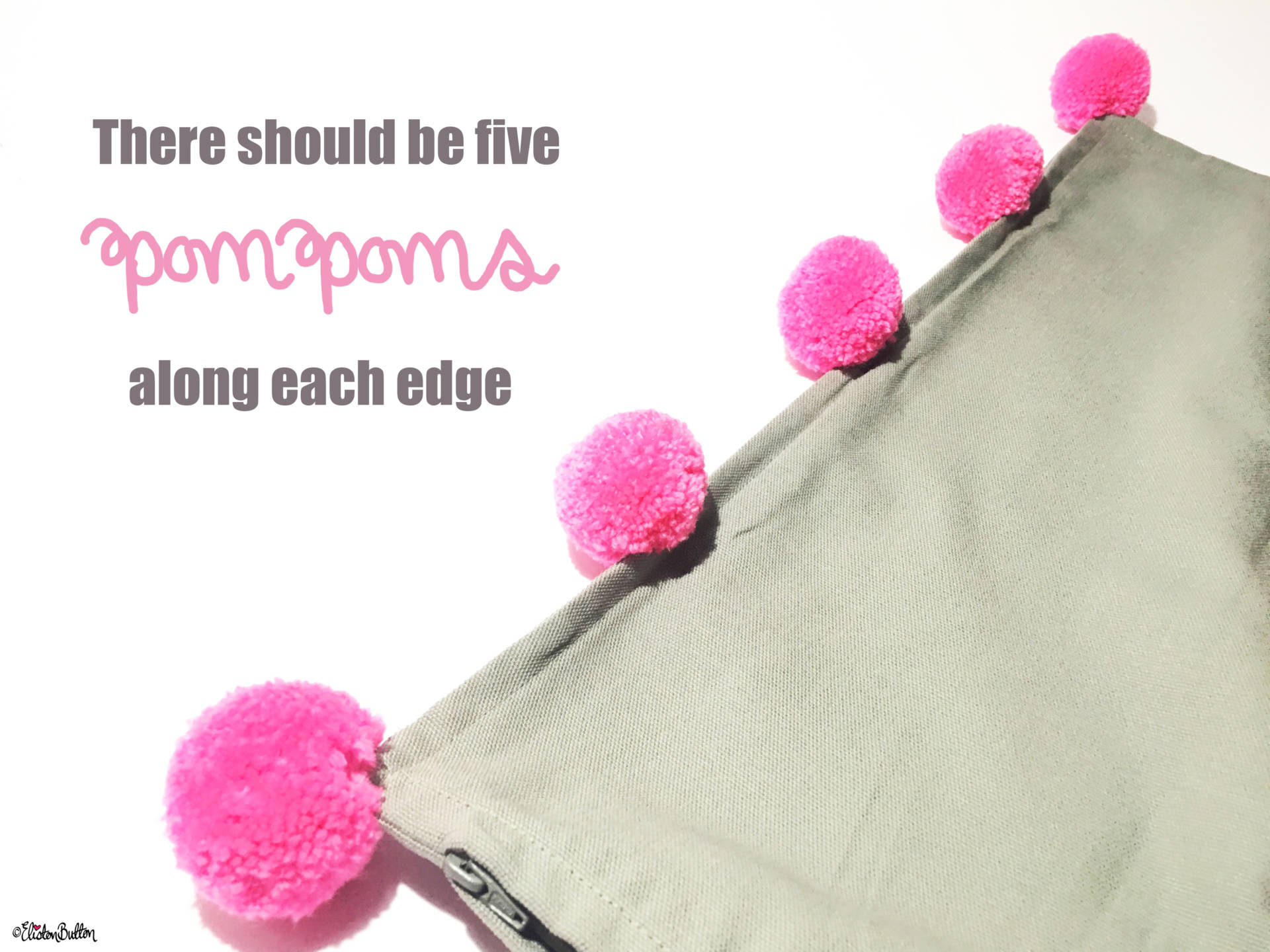 19. So that there are Five Pom Poms Along Each Edge - Tutorial Tuesday – Pom Pom Cushion Cover at www.elistonbutton.com - Eliston Button - That Crafty Kid – Art, Design, Craft & Adventure.