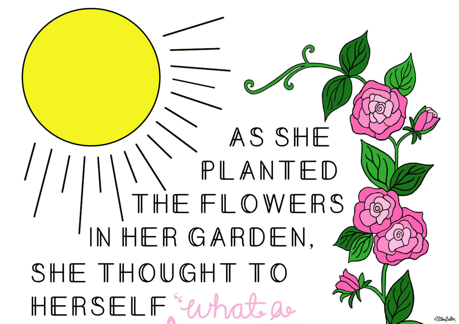 What a Wonderful World Gardening Quote Print by Eliston Button - Top Section - Create 30 – No. 25 – Wonderful World Garden Quote Print at www.elistonbutton.com - Eliston Button - That Crafty Kid – Art, Design, Craft & Adventure.