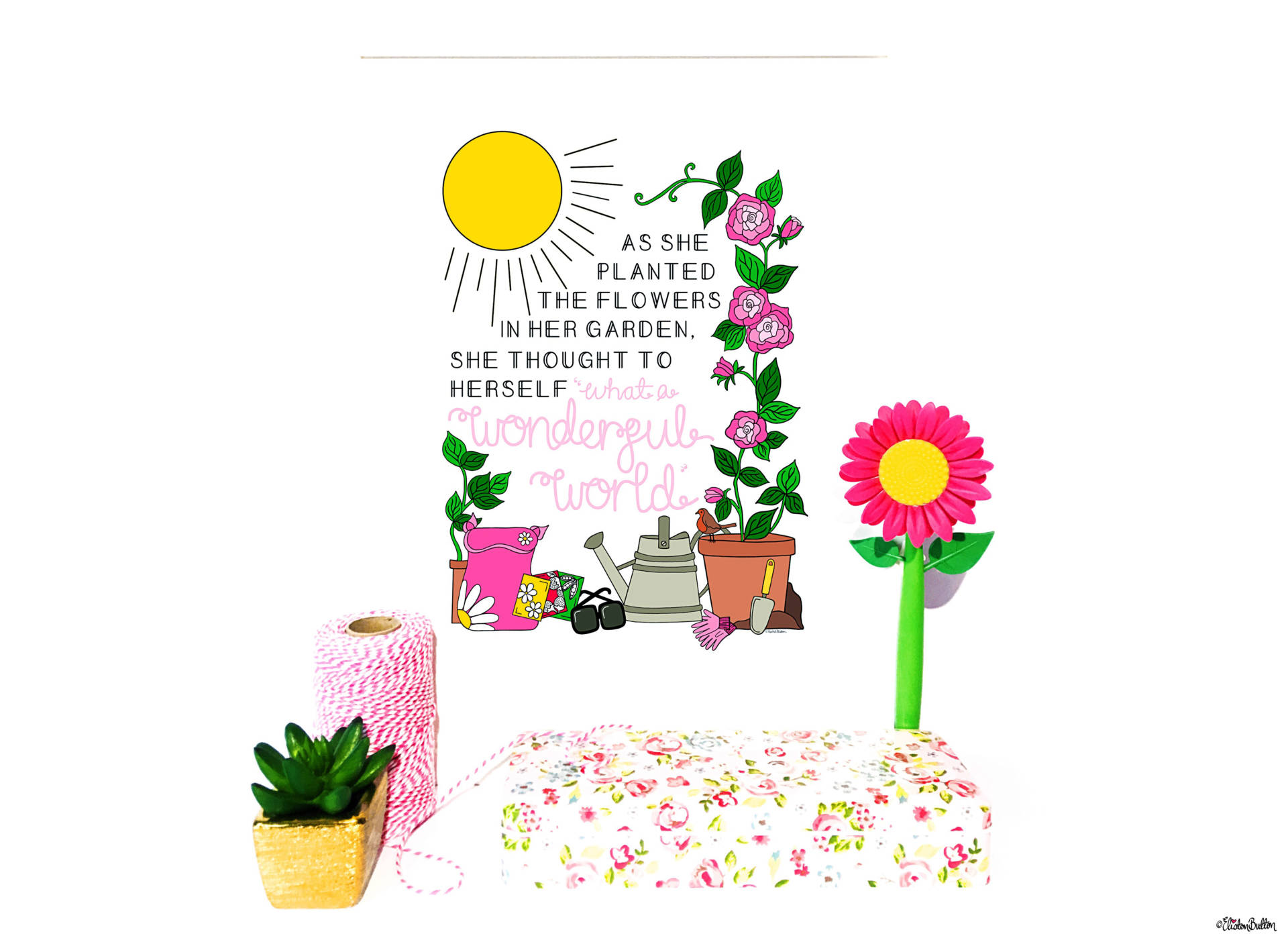 What a Wonderful World Gardening Quote Print by Eliston Button - Create 30 – No. 25 – Wonderful World Garden Quote Print at www.elistonbutton.com - Eliston Button - That Crafty Kid – Art, Design, Craft & Adventure.