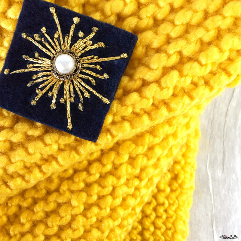 Yellow Chunky Knitting and Navy Blue and Gold Art Deco Inspired Embroidery - Around Here...I'm Back! at www.elistonbutton.com - Eliston Button - That Crafty Kid – Art, Design, Craft & Adventure.