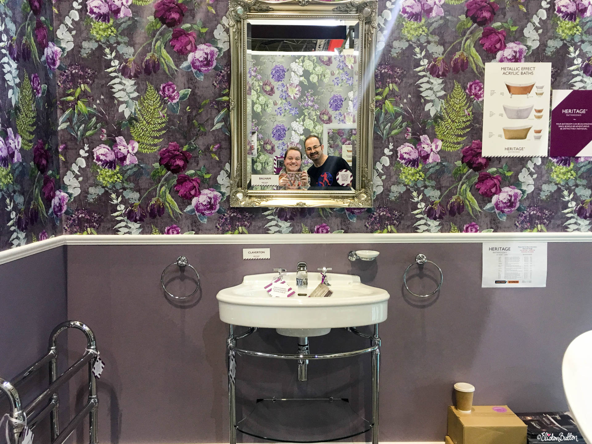 Beautiful Wallpaper and a Photo of Us at Heritage Bathrooms at Grand Designs Live 2017 with Eliston Button - Grand Designs Live 2017 – Part One at www.elistonbutton.com - Eliston Button - That Crafty Kid – Art, Design, Craft & Adventure.