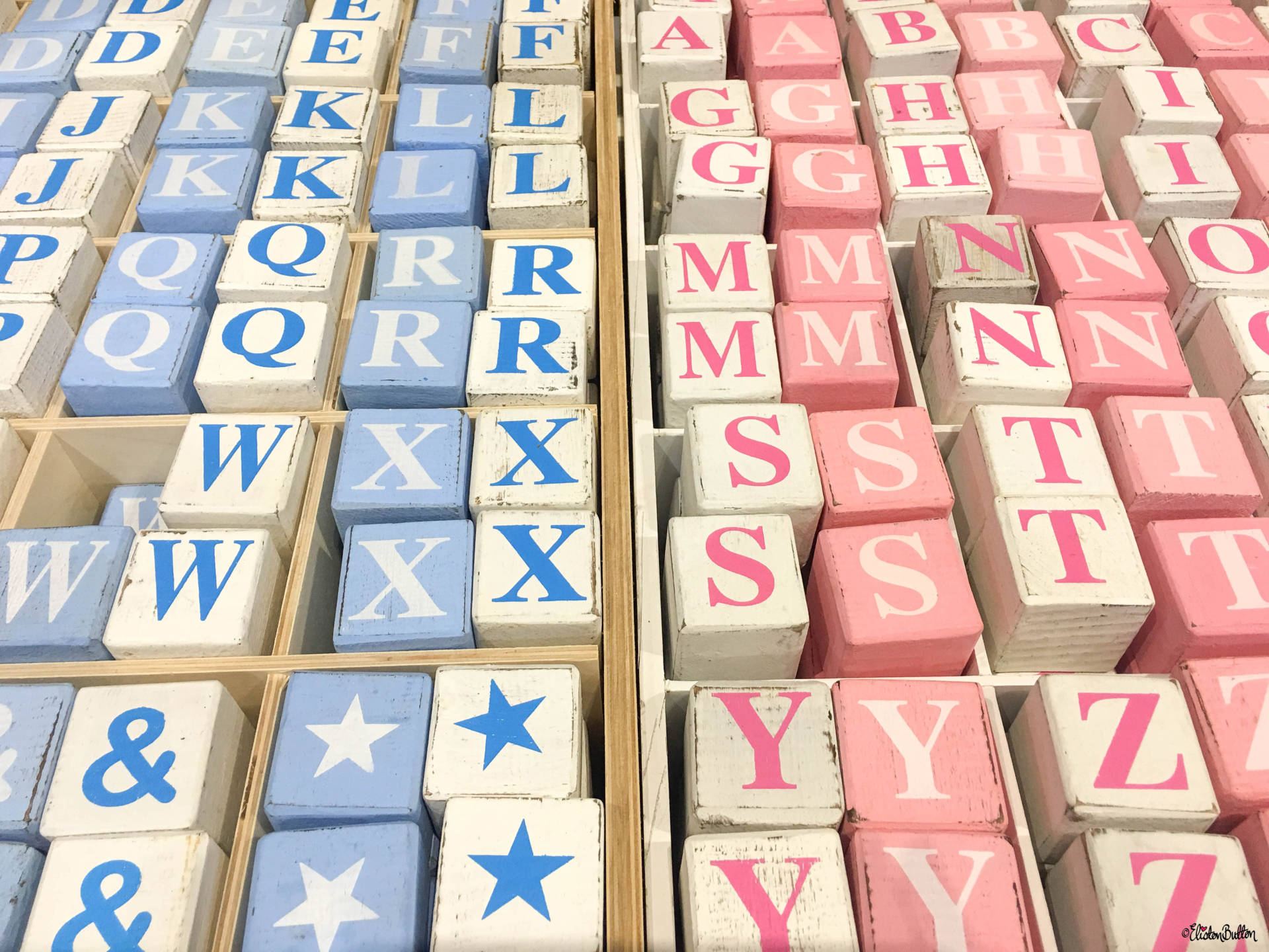 Blue, Pink and White Wooden Letter Blocks at Grand Designs Live 2017 with Eliston Button - Grand Designs Live 2017 – Part One at www.elistonbutton.com - Eliston Button - That Crafty Kid – Art, Design, Craft & Adventure.