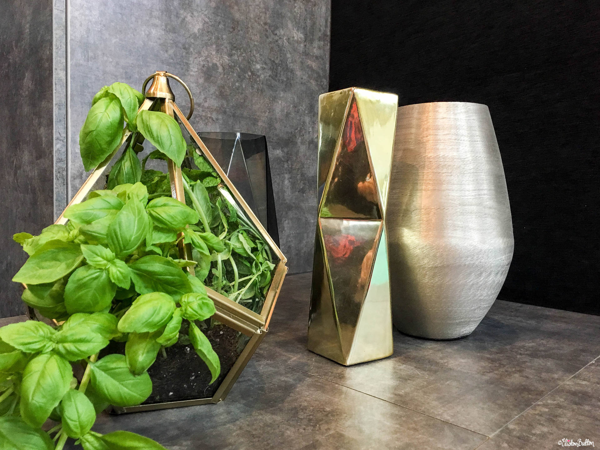 Brushed Metal Vases and a Gold Metal Terranium Home Decor at at Grand Designs Live 2017 with Eliston Button - Grand Designs Live 2017 – Part One at www.elistonbutton.com - Eliston Button - That Crafty Kid – Art, Design, Craft & Adventure.