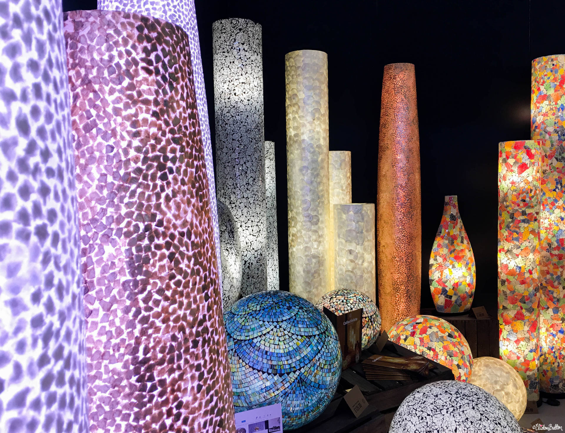 Collectiviste Coloured Mosaic Lighting at Grand Designs Live 2017 with Eliston Button - Grand Designs Live 2017 – Part One at www.elistonbutton.com - Eliston Button - That Crafty Kid – Art, Design, Craft & Adventure.