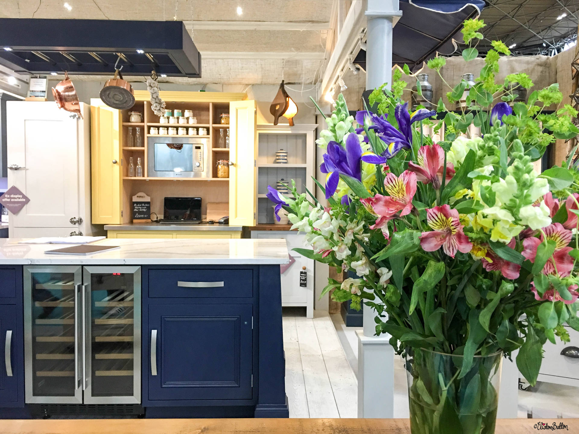 Navy and Cream Mudd & Co Handcrafted Kitchens at Grand Designs Live 2017 with Eliston Button - Grand Designs Live 2017 – Part One at www.elistonbutton.com - Eliston Button - That Crafty Kid – Art, Design, Craft & Adventure.