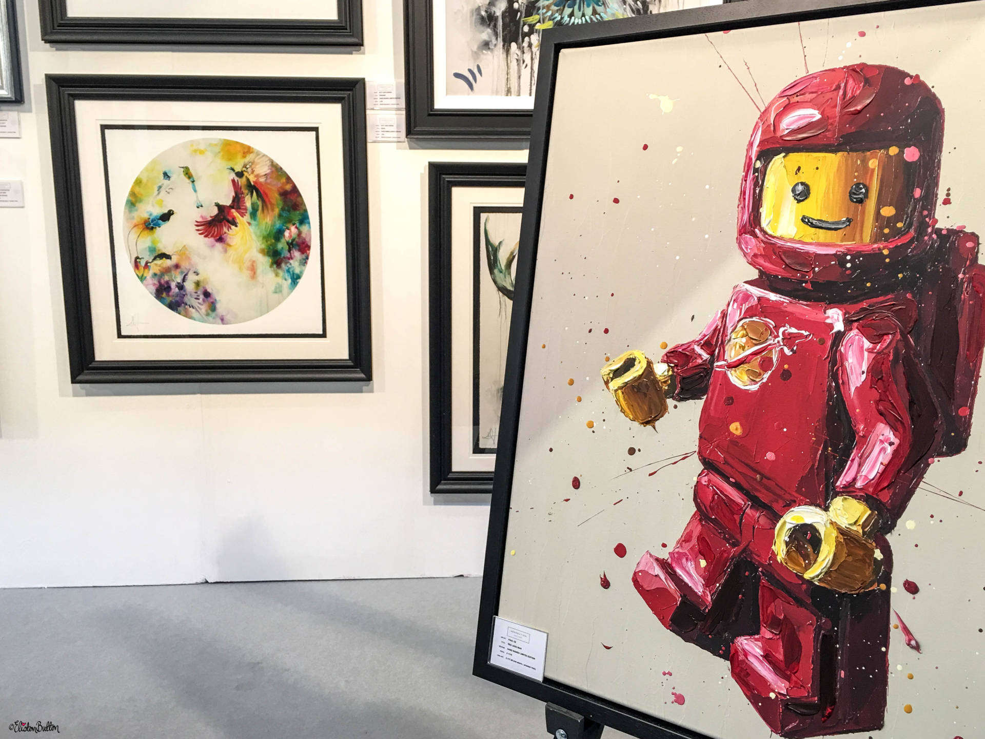 Red Lego Man by Paul Oz at the Generation Gallery Stand at Grand Designs Live 2017 with Eliston Button - Grand Designs Live 2017 – Part One at www.elistonbutton.com - Eliston Button - That Crafty Kid – Art, Design, Craft & Adventure.