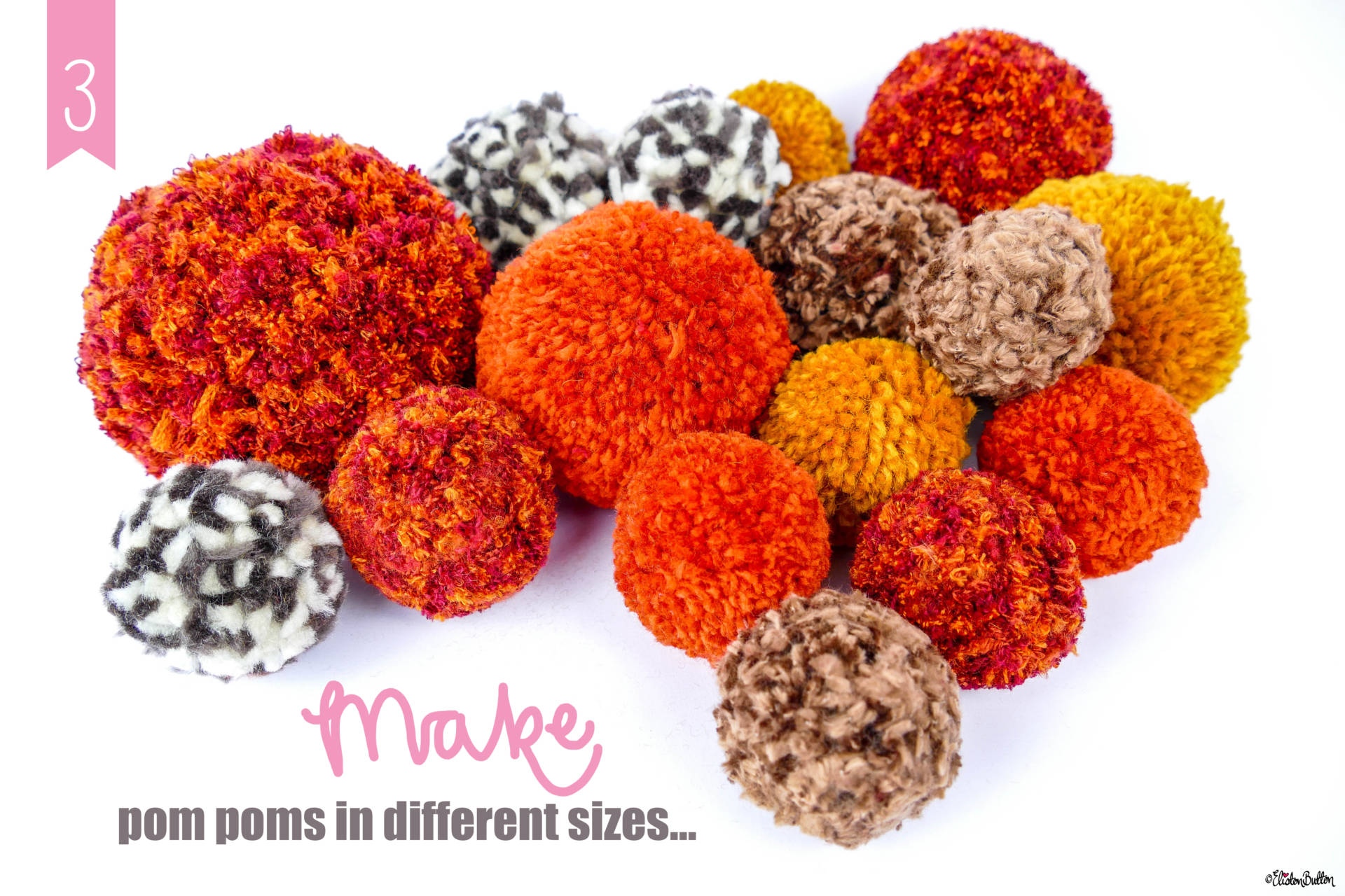 Autumnal Coloured Pom Poms - Tutorial Tuesday - Simple Autumn Pom Pom Decor at www.elistonbutton.com - Eliston Button - That Crafty Kid – Art, Design, Craft & Adventure.