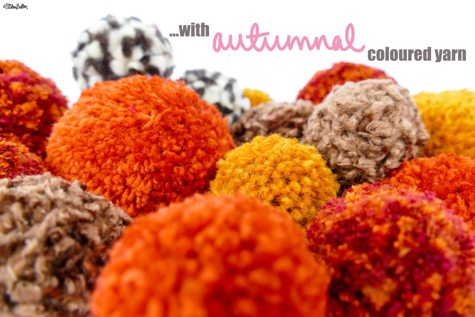 Autumnal Coloured Pom Poms Close Up - Tutorial Tuesday - Simple Autumn Pom Pom Decor at www.elistonbutton.com - Eliston Button - That Crafty Kid – Art, Design, Craft & Adventure.