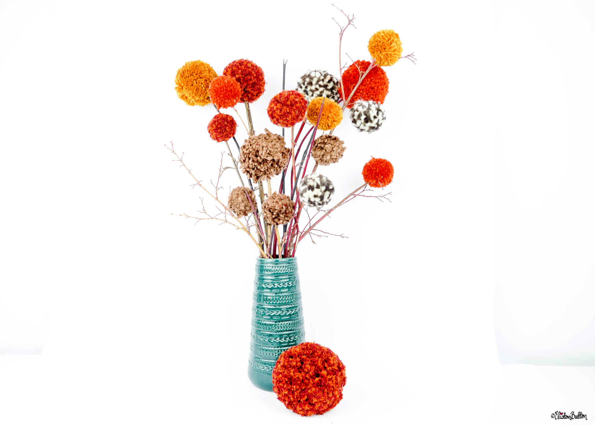 Simple Autumn Pom Pom Decor D.I.Y. Tutorial by Eliston Button - The End Result - Tutorial Tuesday - Simple Autumn Pom Pom Decor at www.elistonbutton.com - Eliston Button - That Crafty Kid – Art, Design, Craft & Adventure.