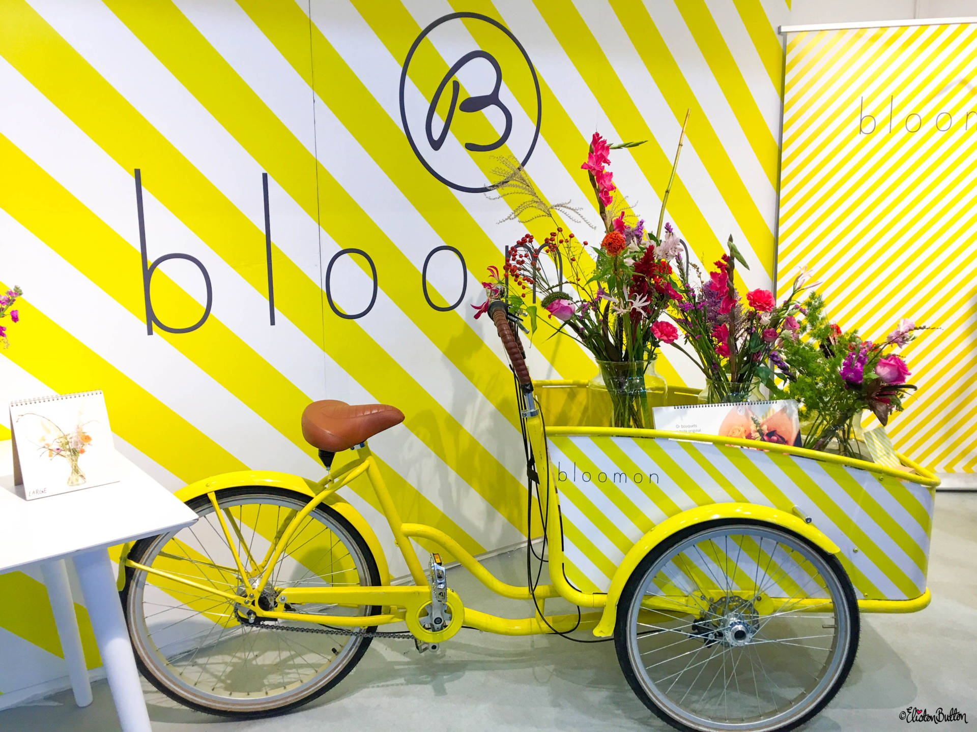 Bloom Yellow Bicycle and Flowers at Grand Designs Live 2017 with Eliston Button - Grand Designs Live 2017 – Part Two at www.elistonbutton.com - Eliston Button - That Crafty Kid – Art, Design, Craft & Adventure.