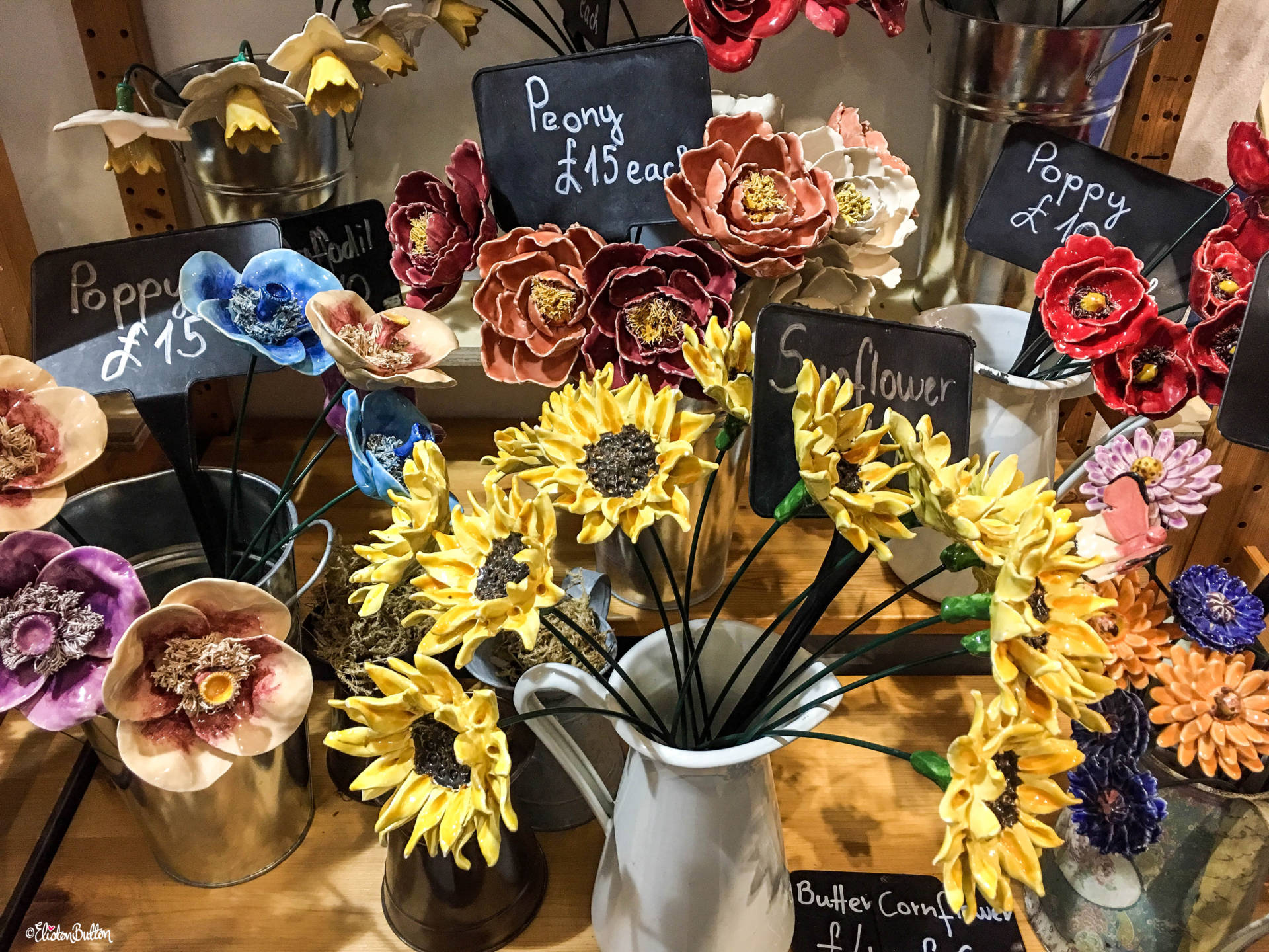 Ceramic Painted Flowers at the Carneol Glass Stand at Grand Designs Live 2017 with Eliston Button - Grand Designs Live 2017 – Part Two at www.elistonbutton.com - Eliston Button - That Crafty Kid – Art, Design, Craft & Adventure.