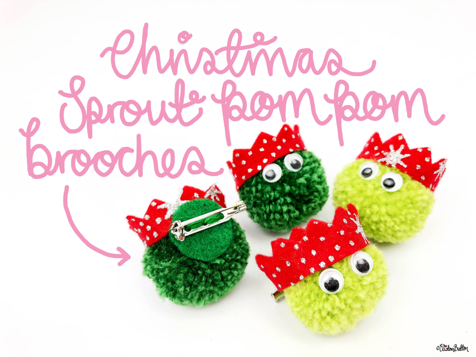 Christmas Sprout Pom Pom Brooches by Eliston Button - Christmas Sprout Pom Pom Brooches! at www.elistonbutton.com - Eliston Button - That Crafty Kid – Art, Design, Craft & Adventure.