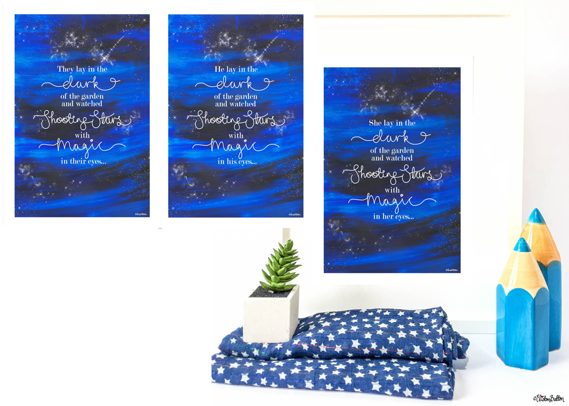 Copyrighted - They, He and She Versions - Shooting Star Night Sky Quote Print by Eliston Button - New Fabric Collage and Shooting Star Prints at www.elistonbutton.com - Eliston Button - That Crafty Kid – Art, Design, Craft & Adventure.