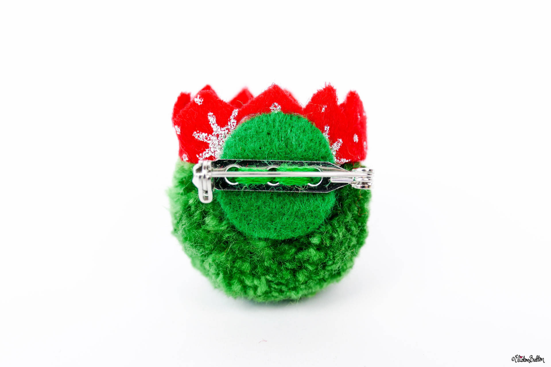 Dark Green Christmas Sprout Pom Pom Brooch with Red Glitter Party Hat by Eliston Button - Back View - Christmas Sprout Pom Pom Brooches! at www.elistonbutton.com - Eliston Button - That Crafty Kid – Art, Design, Craft & Adventure.