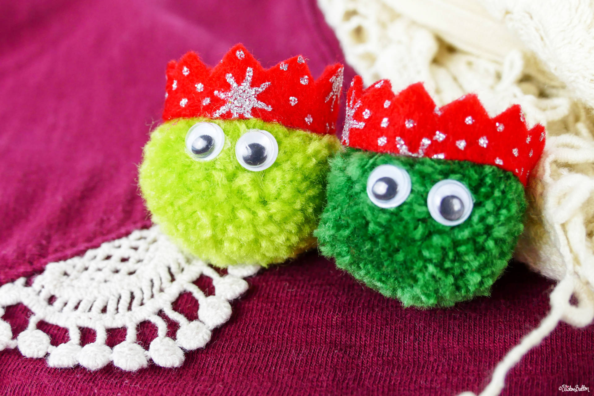 Dark and Light Green Christmas Sprout Pom Pom Brooches with Red Glitter Party Hats - Christmas Sprout Pom Pom Brooches! at www.elistonbutton.com - Eliston Button - That Crafty Kid – Art, Design, Craft & Adventure.