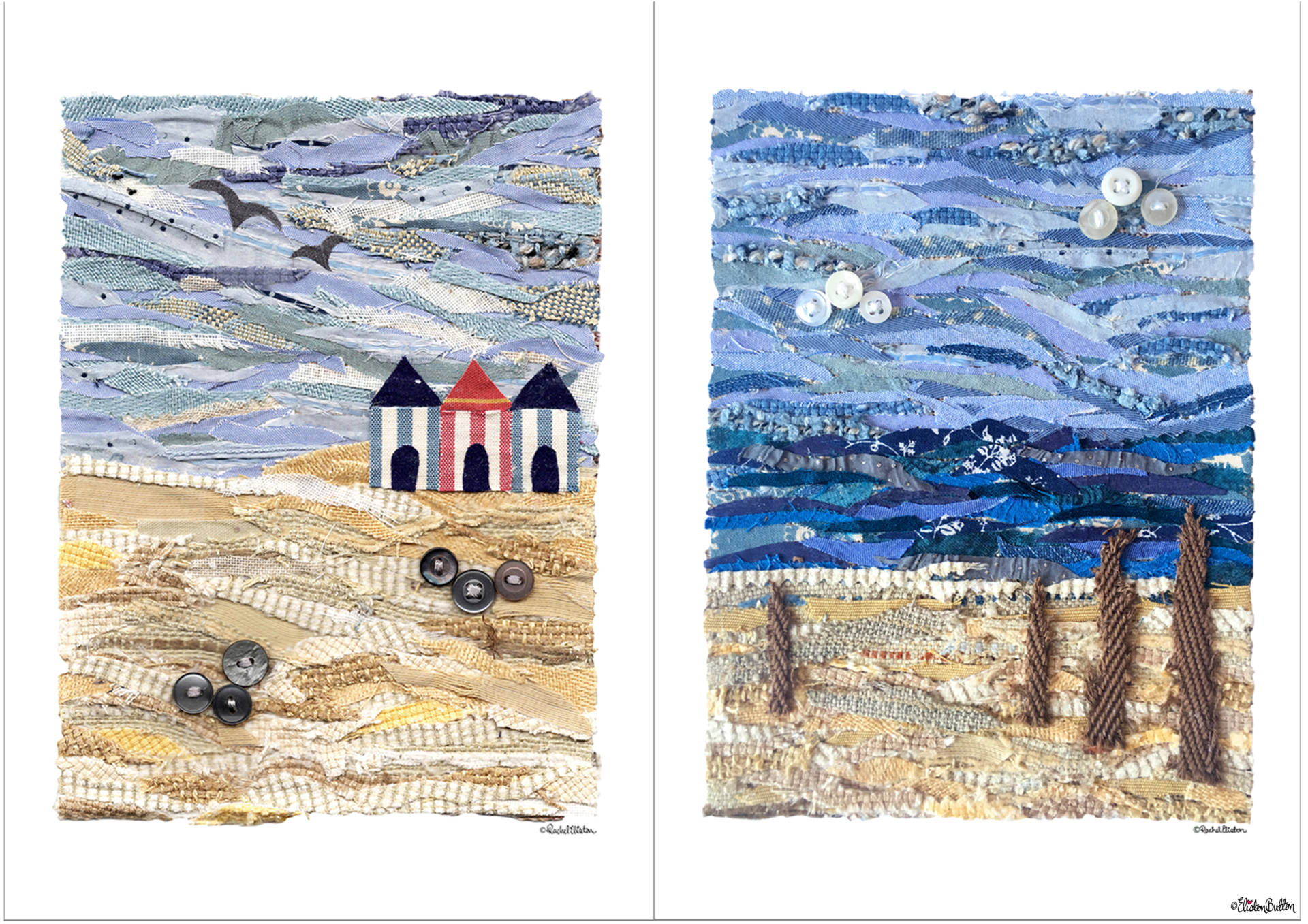 Fabric Beach Huts and Driftwood Collage Prints By Eliston Button - New Fabric Collage and Shooting Star Prints at www.elistonbutton.com - Eliston Button - That Crafty Kid – Art, Design, Craft & Adventure.
