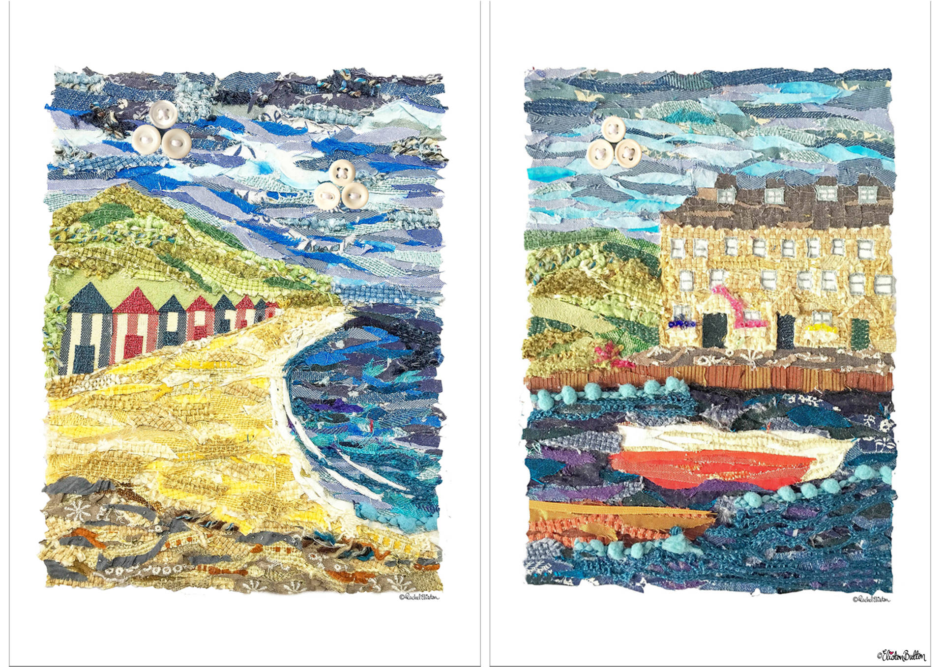 Fabric Beach Huts and Seaside Harbour Collage Prints By Eliston Button - New Fabric Collage and Shooting Star Prints at www.elistonbutton.com - Eliston Button - That Crafty Kid – Art, Design, Craft & Adventure.
