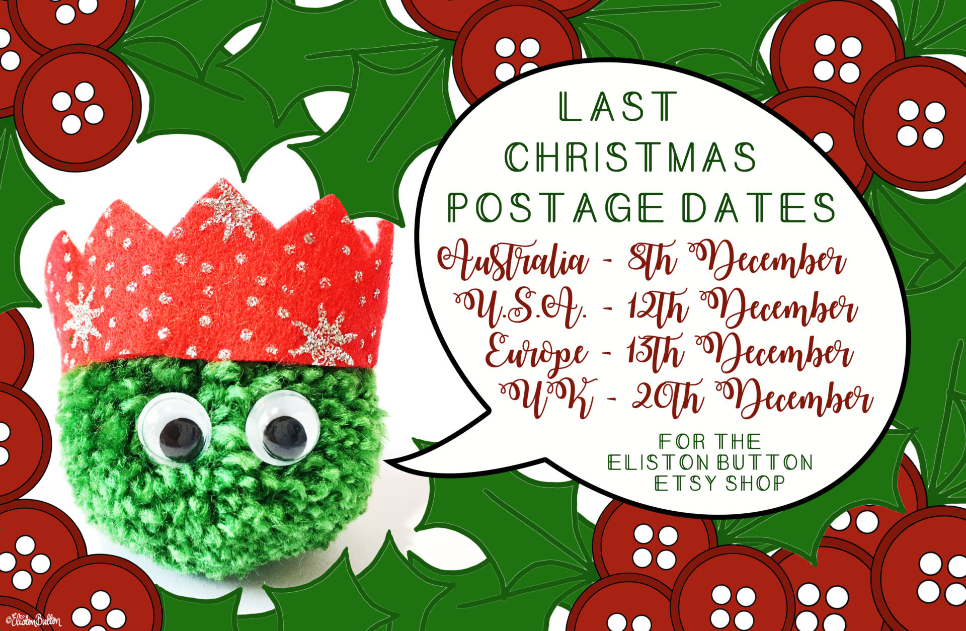 Last Christmas Postage Dates for the Eliston Button Etsy Shop - Last Christmas Postage Dates! at www.elistonbutton.com - Eliston Button - That Crafty Kid – Art, Design, Craft & Adventure.
