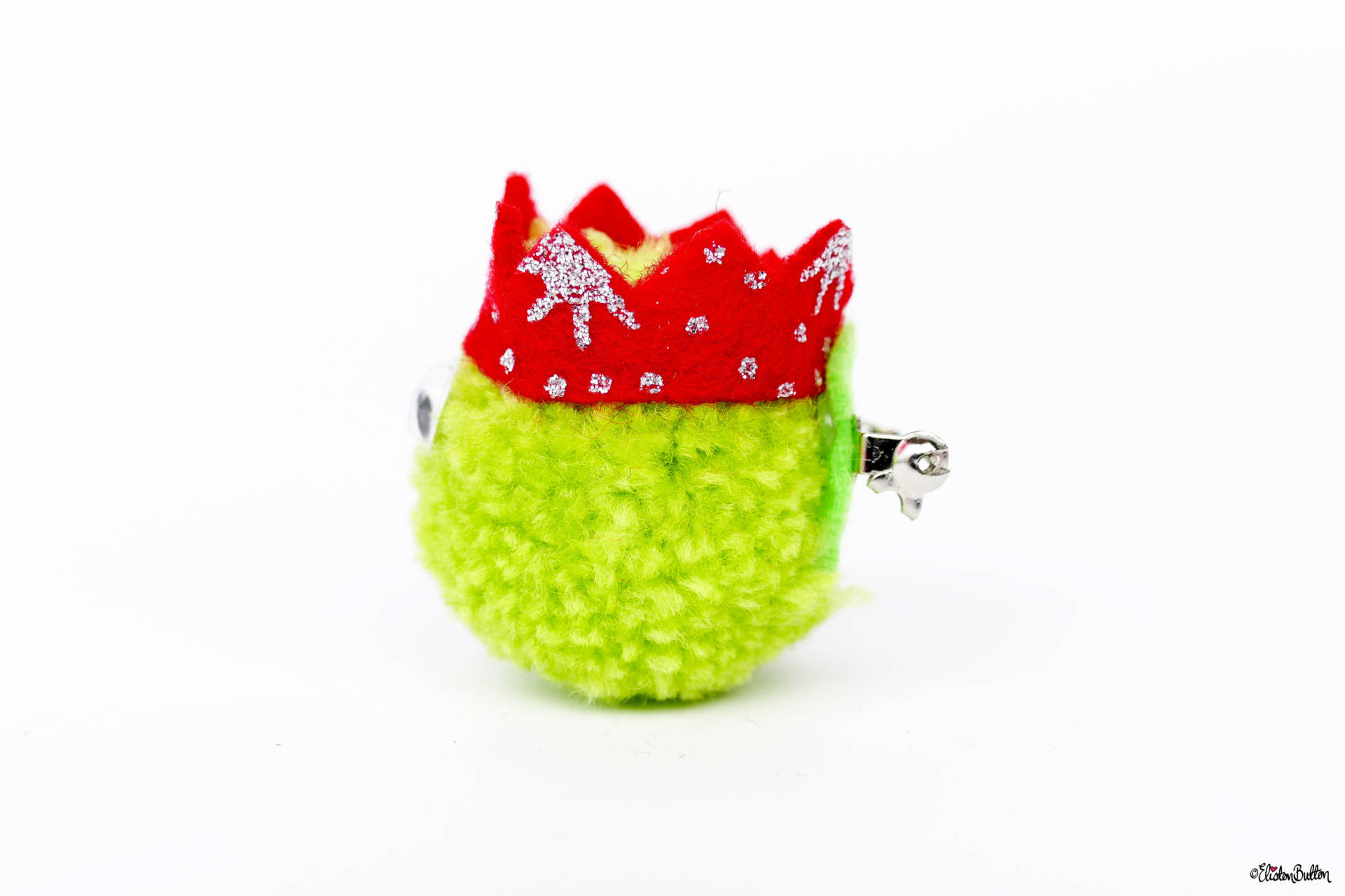 Light Green Christmas Sprout Pom Pom Brooch by Eliston Button - Side View - Christmas Sprout Pom Pom Brooches! at www.elistonbutton.com - Eliston Button - That Crafty Kid – Art, Design, Craft & Adventure.