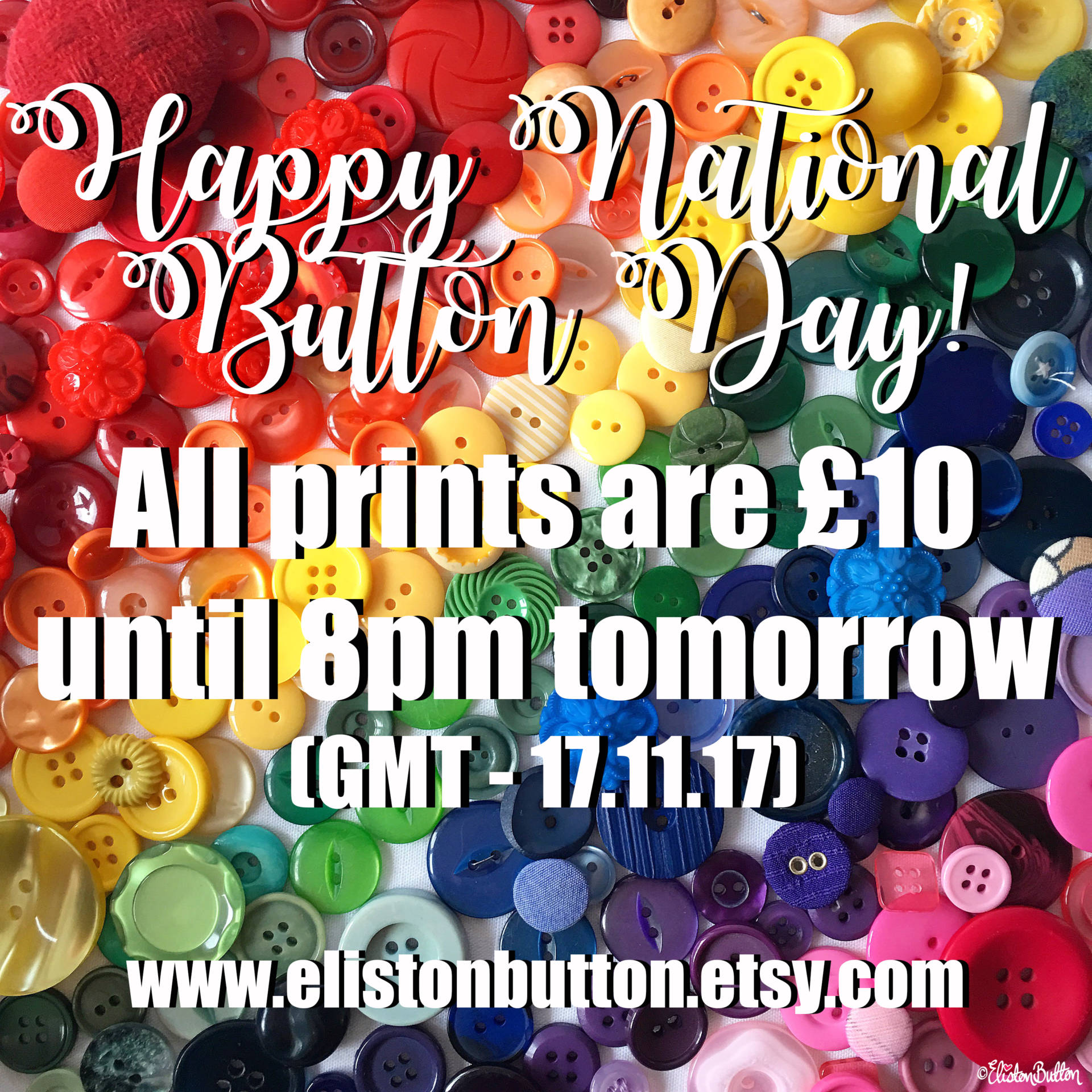 National Button Day Promotion - New Fabric Collage and Shooting Star Prints at www.elistonbutton.com - Eliston Button - That Crafty Kid – Art, Design, Craft & Adventure.