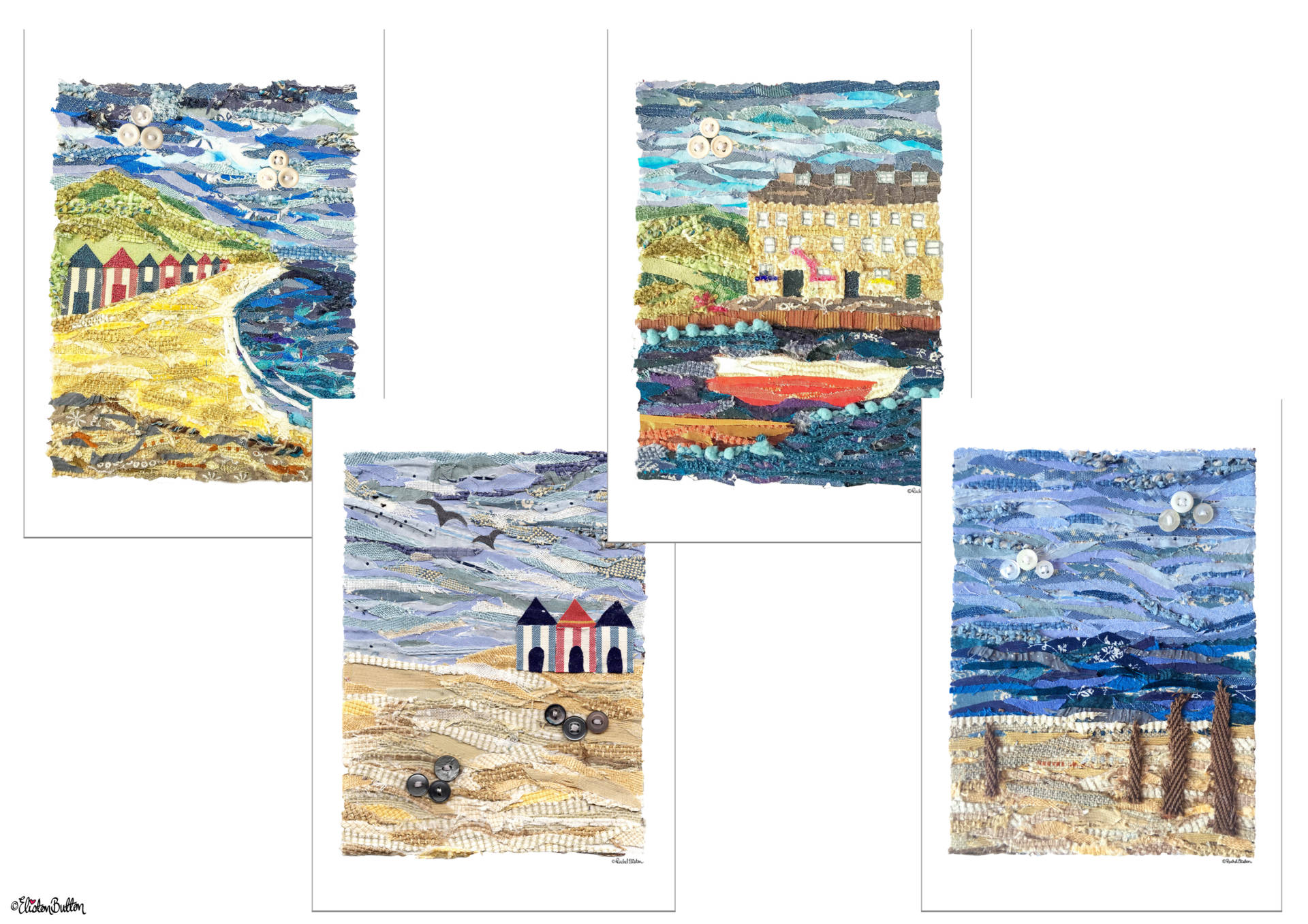 New Fabric Beach, Seaside and Harbour Fabric Collage Prints by Eliston Button on Etsy - New Fabric Collage and Shooting Star Prints at www.elistonbutton.com - Eliston Button - That Crafty Kid – Art, Design, Craft & Adventure.