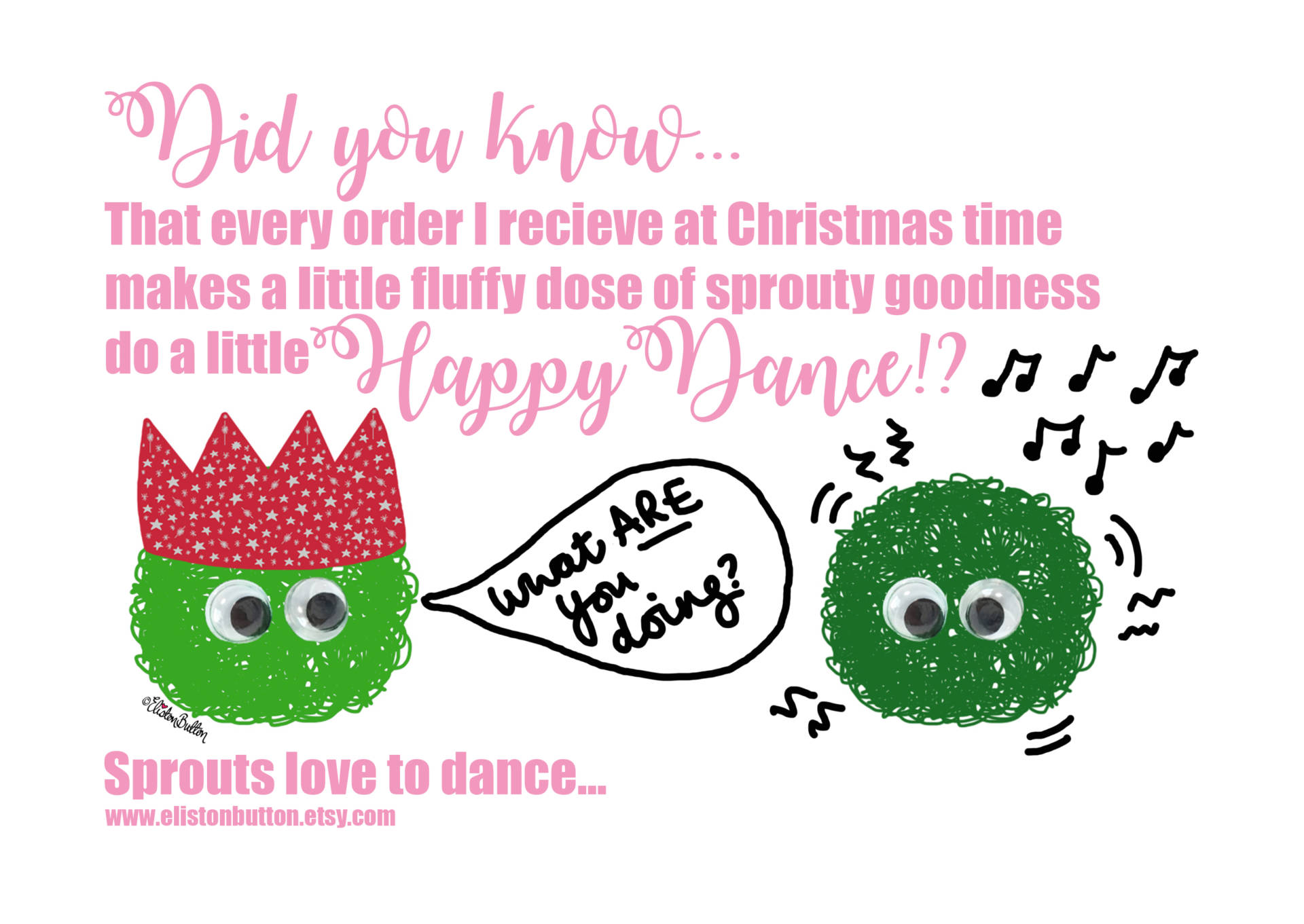 Sprout Happy Dance - Support Small Businesses by Eliston Button - Last Christmas Postage Dates! at www.elistonbutton.com - Eliston Button - That Crafty Kid – Art, Design, Craft & Adventure.