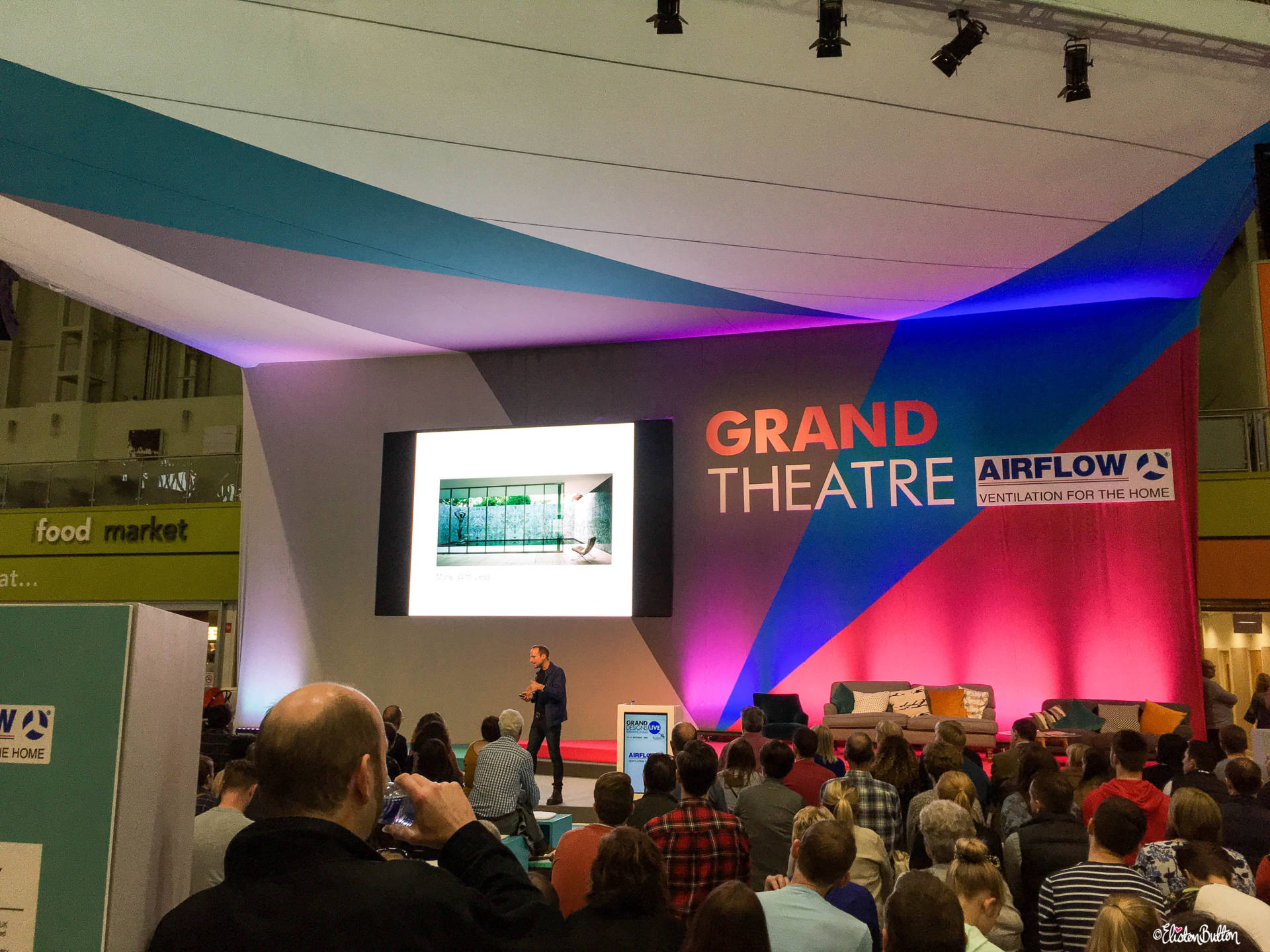 The Grand Theatre Stage at Grand Designs Live 2017 with Eliston Button - Grand Designs Live 2017 – Part Two at www.elistonbutton.com - Eliston Button - That Crafty Kid – Art, Design, Craft & Adventure.