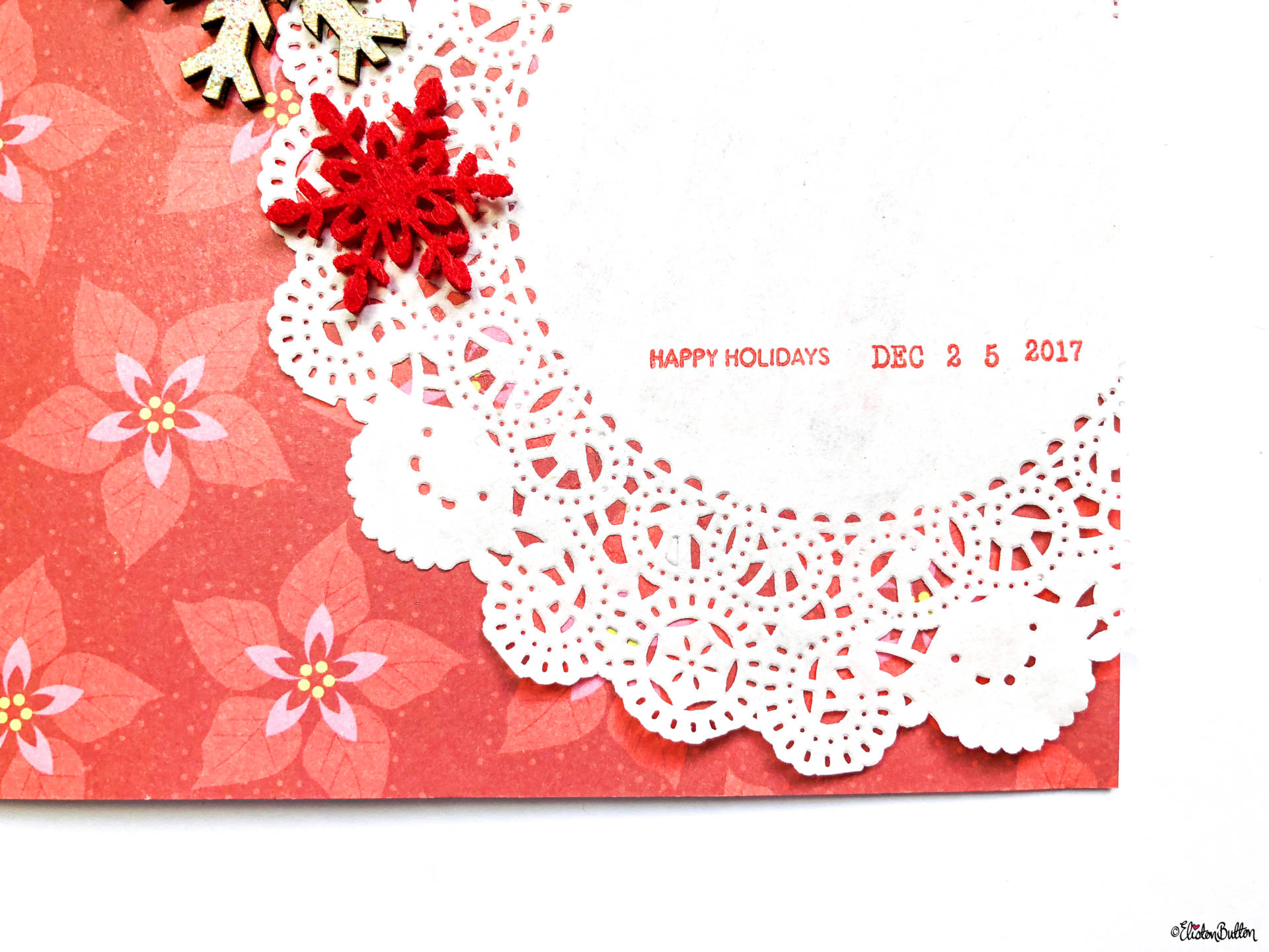 A Creative Christmas Card - Scrapbook Paper, Embellishments and Doilies Bottom Section by Eliston Button- Tutorial Tuesday - A Creative Christmas Card *Video* Tutorial at www.elistonbutton.com - Eliston Button - That Crafty Kid – Art, Design, Craft & Adventure.