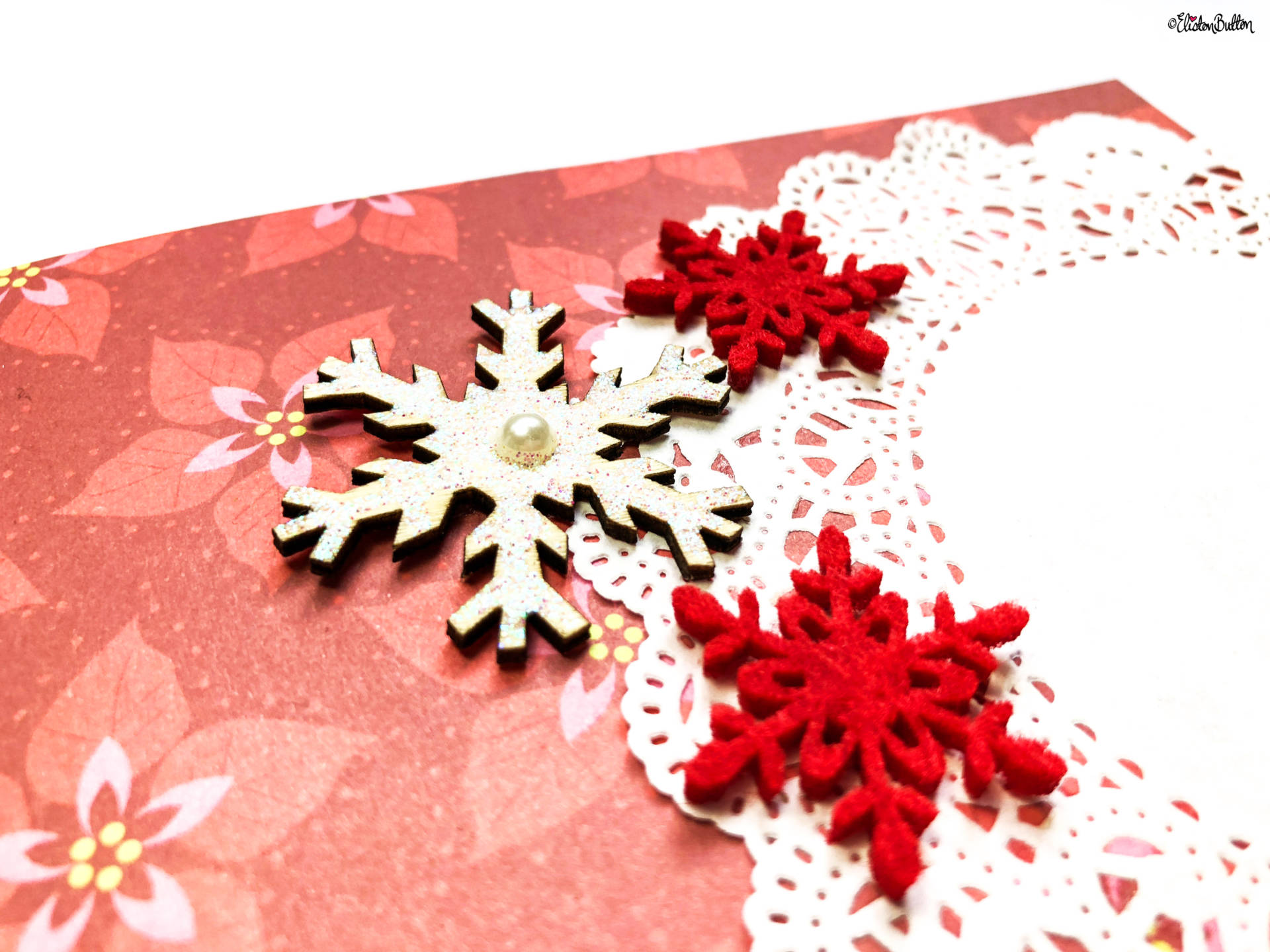 A Creative Christmas Card - Scrapbook Paper, Embellishments and Doilies Close Up by Eliston Button - Tutorial Tuesday - A Creative Christmas Card *Video* Tutorial at www.elistonbutton.com - Eliston Button - That Crafty Kid – Art, Design, Craft & Adventure.