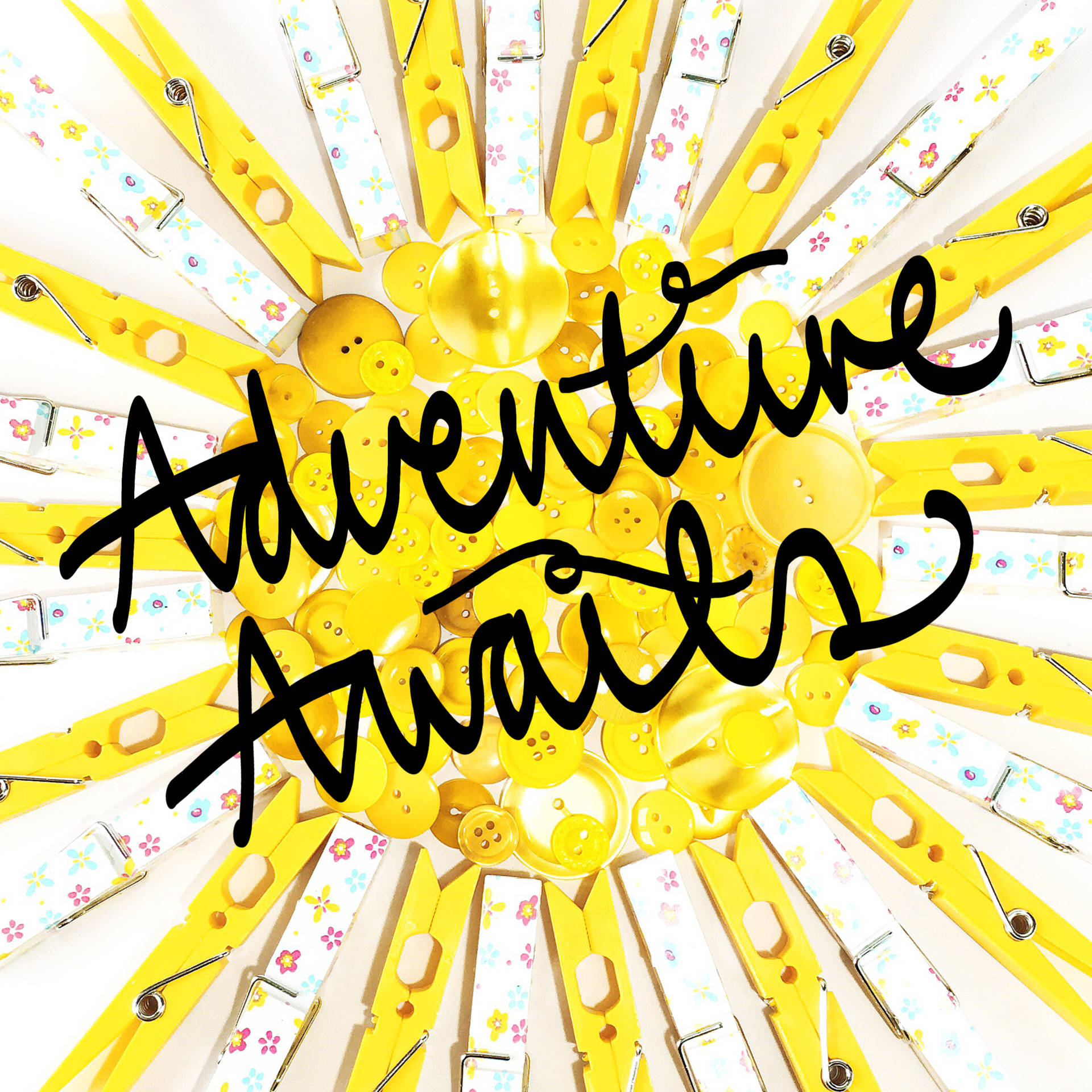 Adventure Awaits Yellow Button Sunshine with Hand Lettering by Eliston Button - Merry Christmas, Happy Holidays and a Magical New Year! at www.elistonbutton.com - Eliston Button - That Crafty Kid – Art, Design, Craft & Adventure.